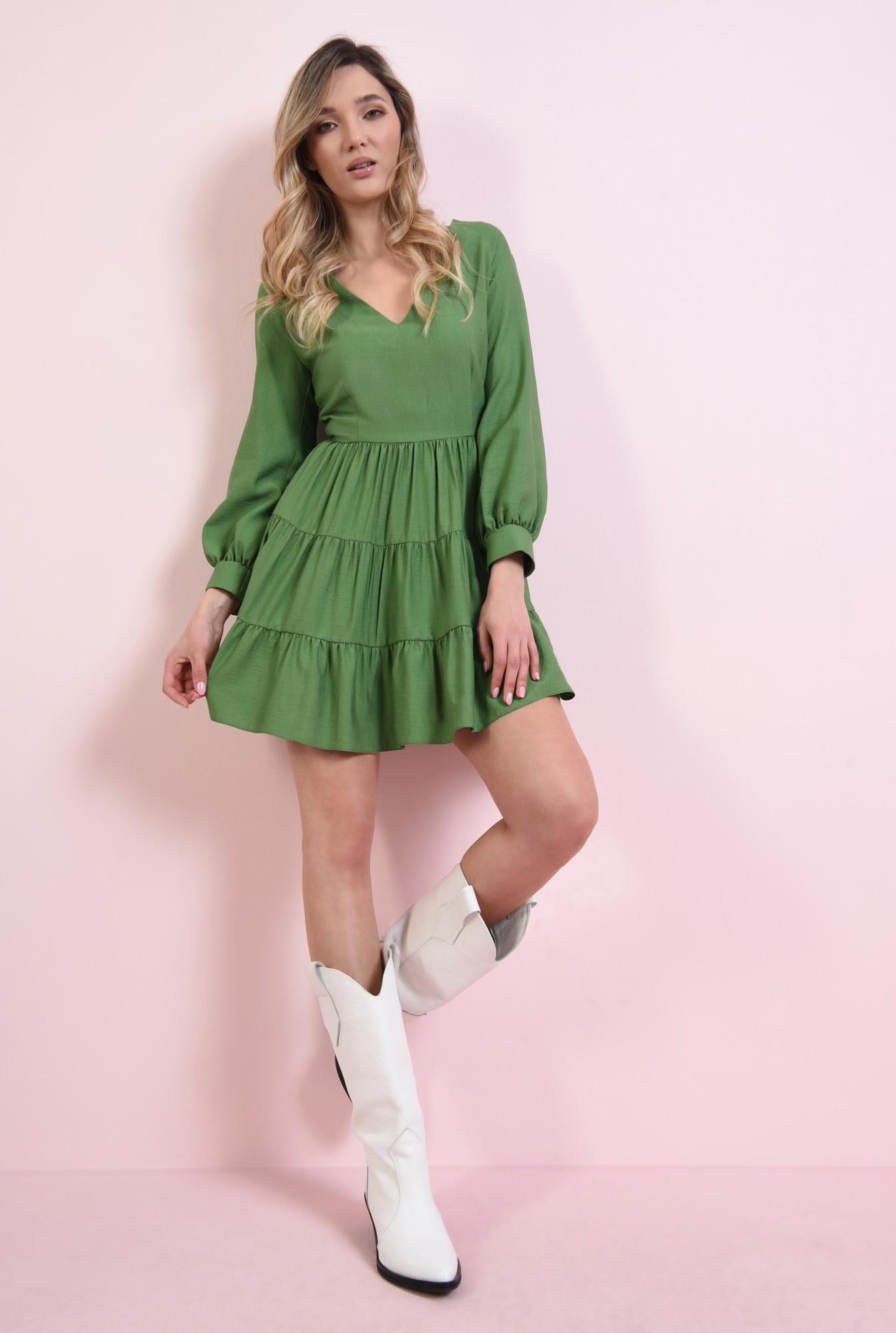 0 - rochie mini, verde, cu volan