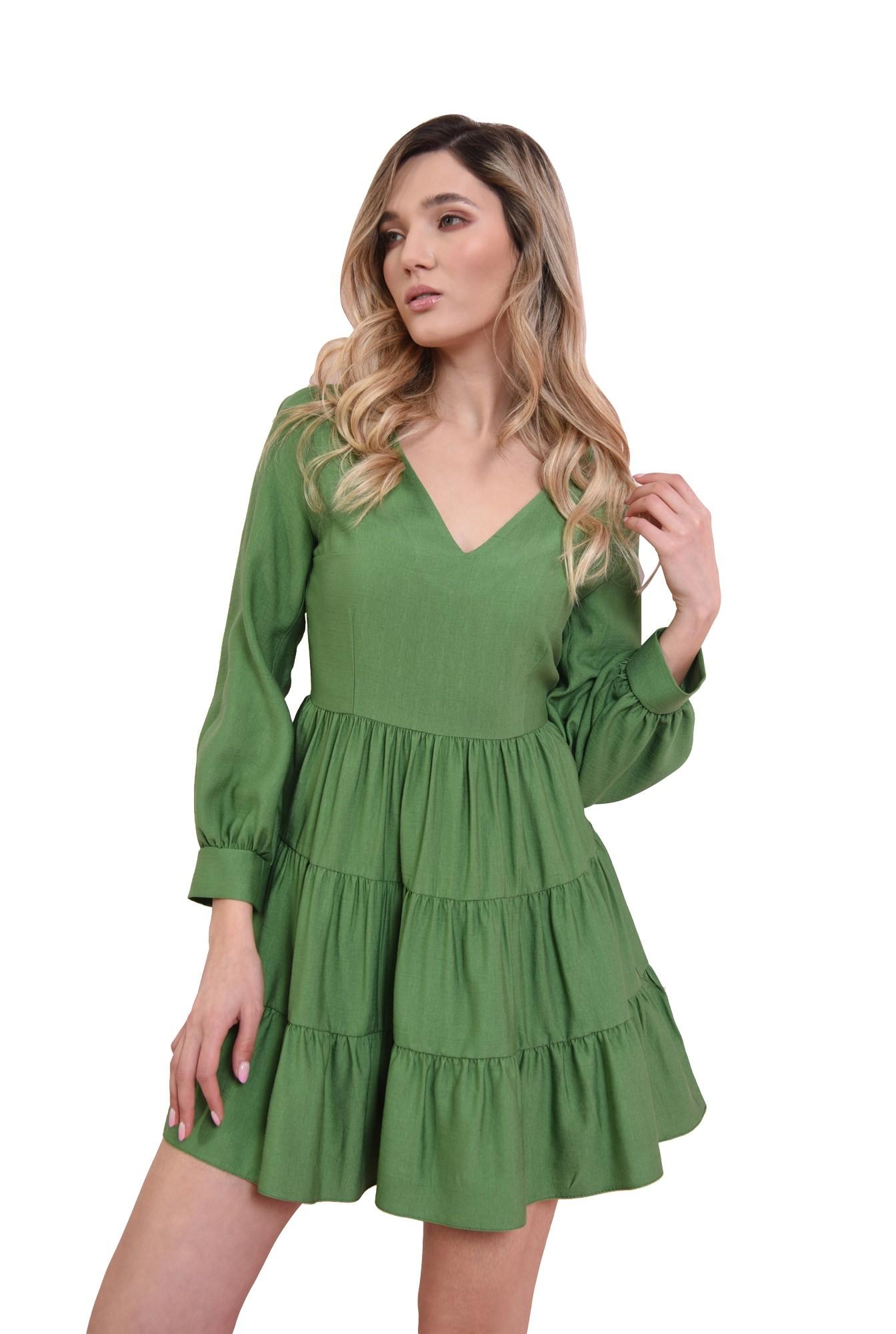 3 - rochie mini, verde, cu volan