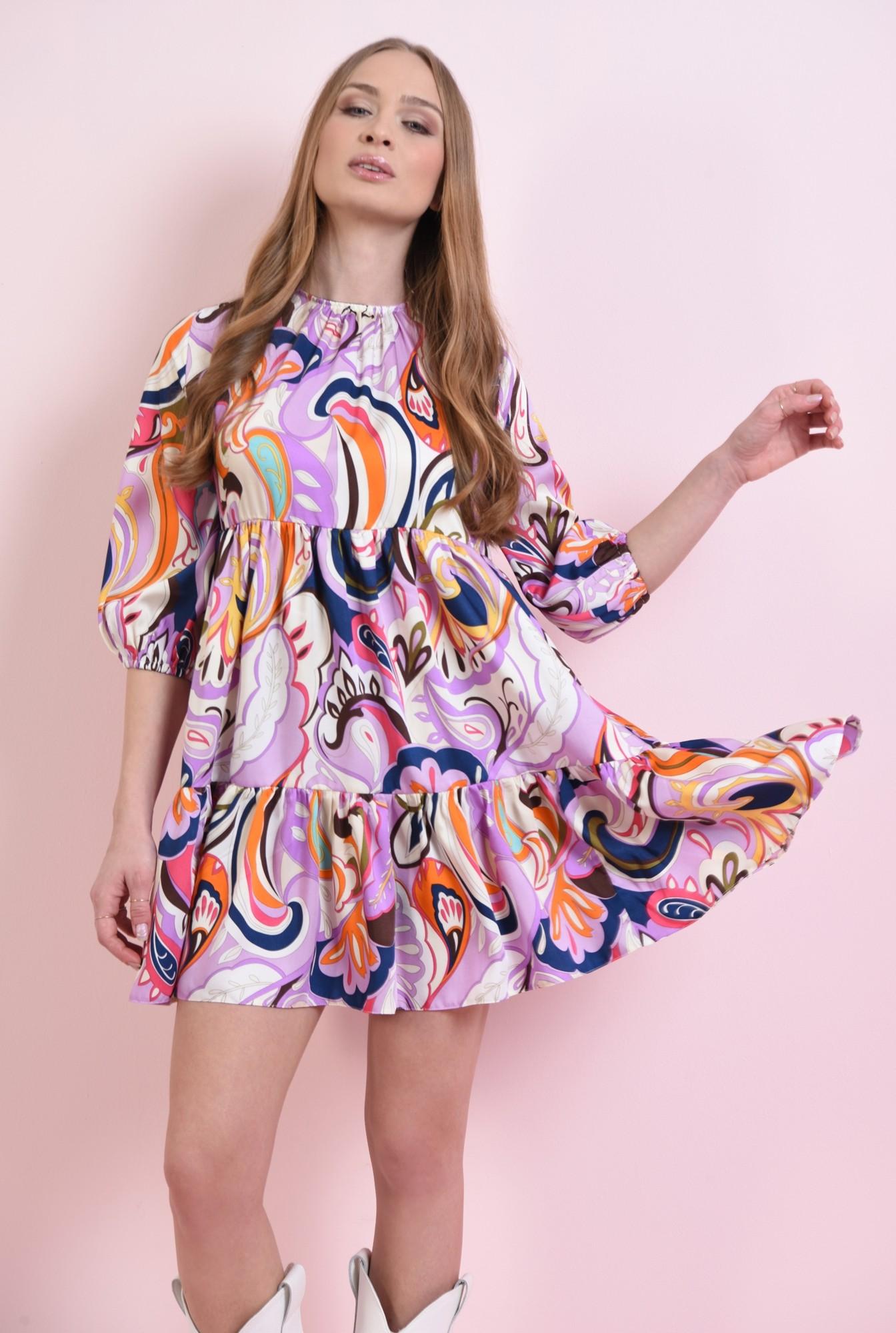 1 - rochie larga, cu volan, cu print