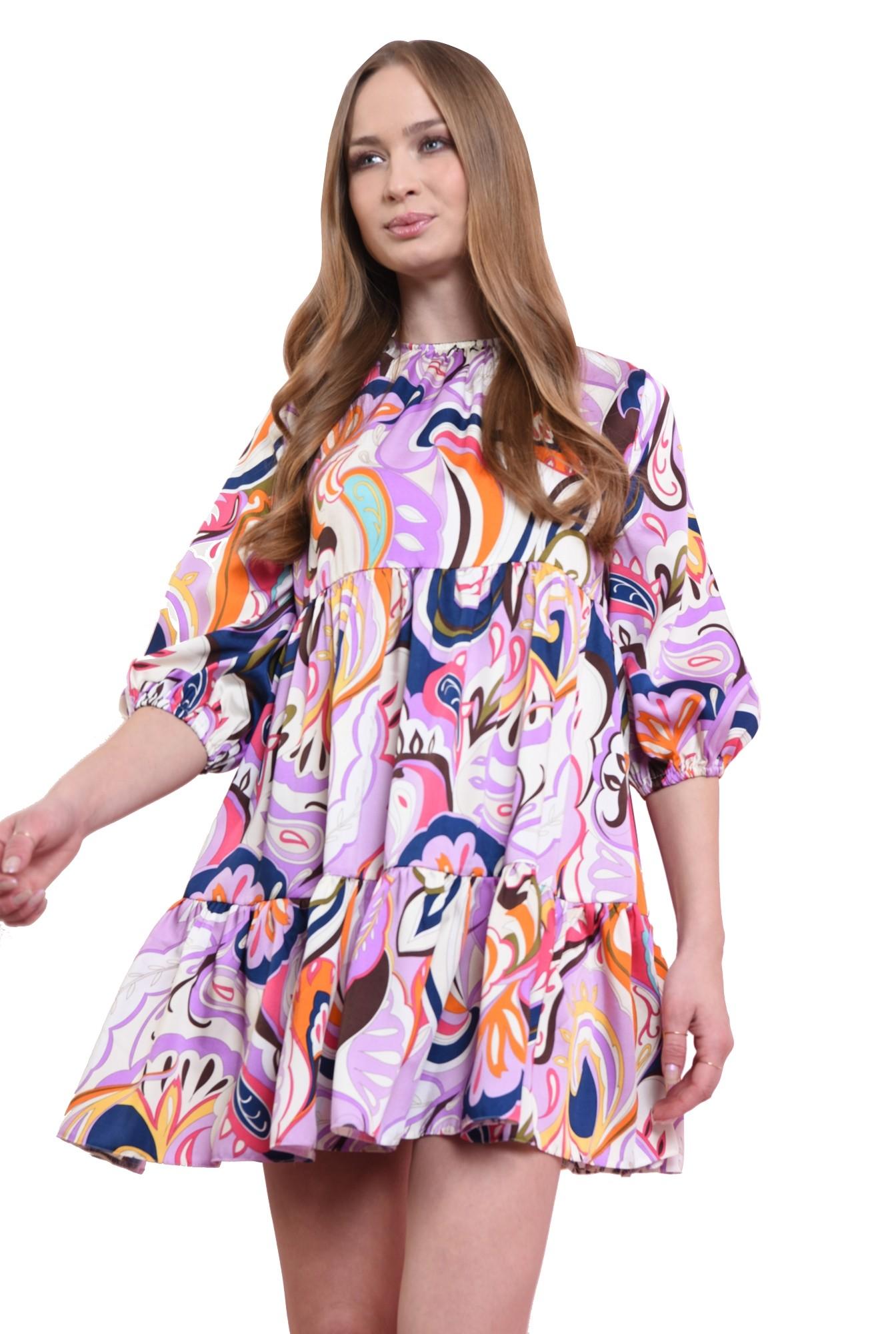 3 - rochie larga, cu volan, cu print