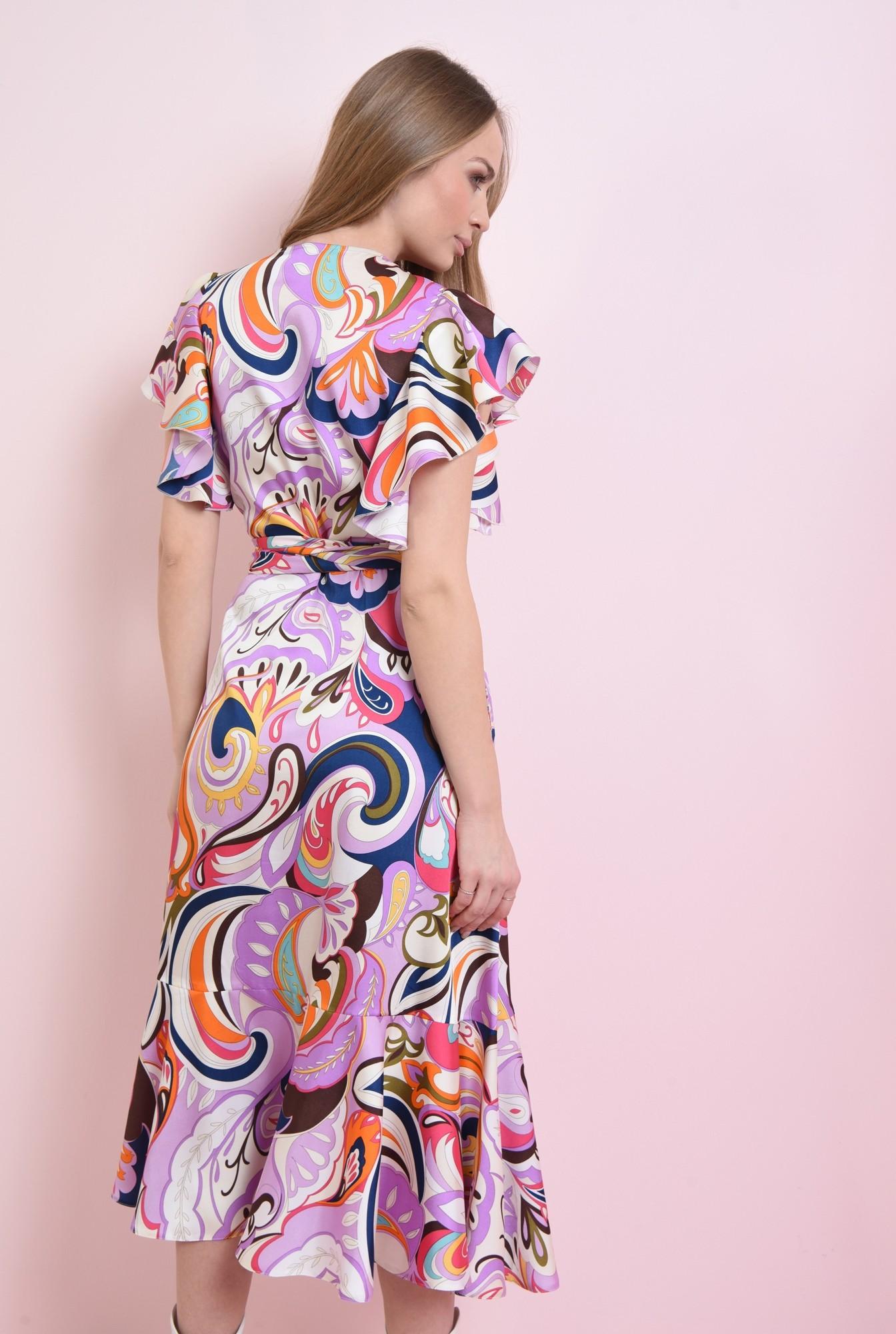 1 - rochie petrecuta cu volan, cu cordon