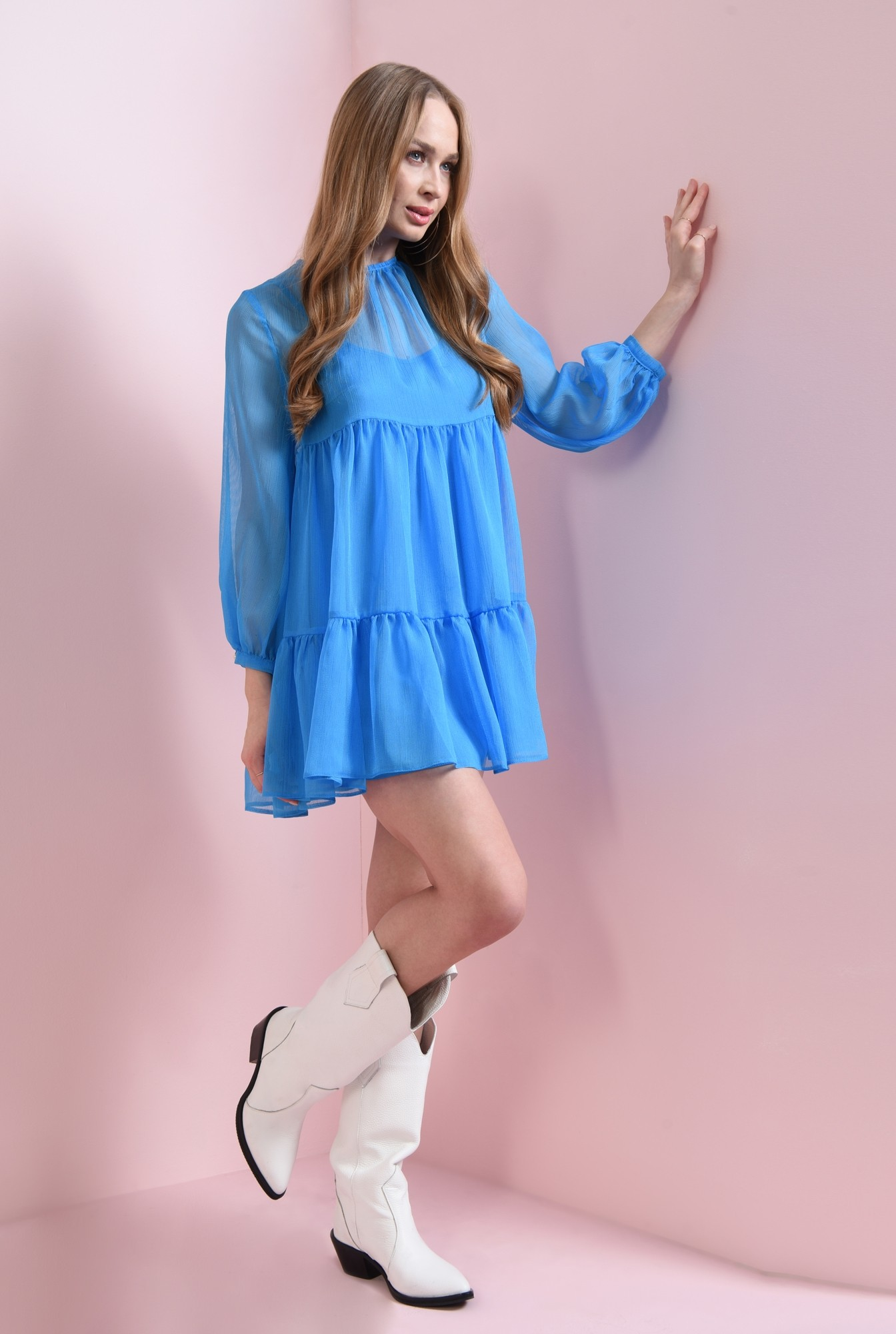 2 - rochie scurta, albastra, babydoll