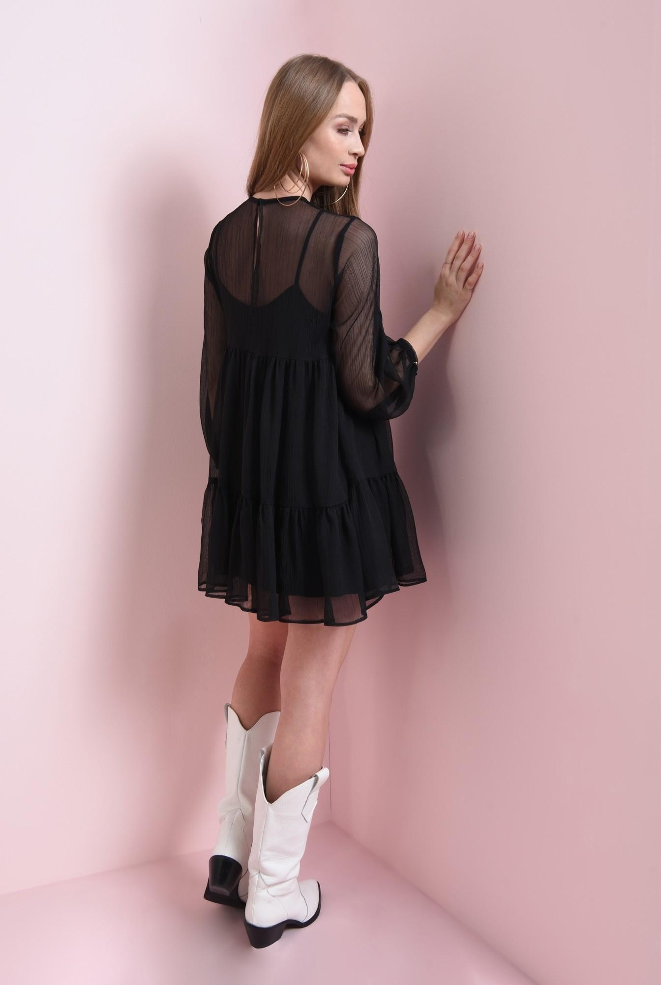 2 - rochie mini, cu volan, din voal