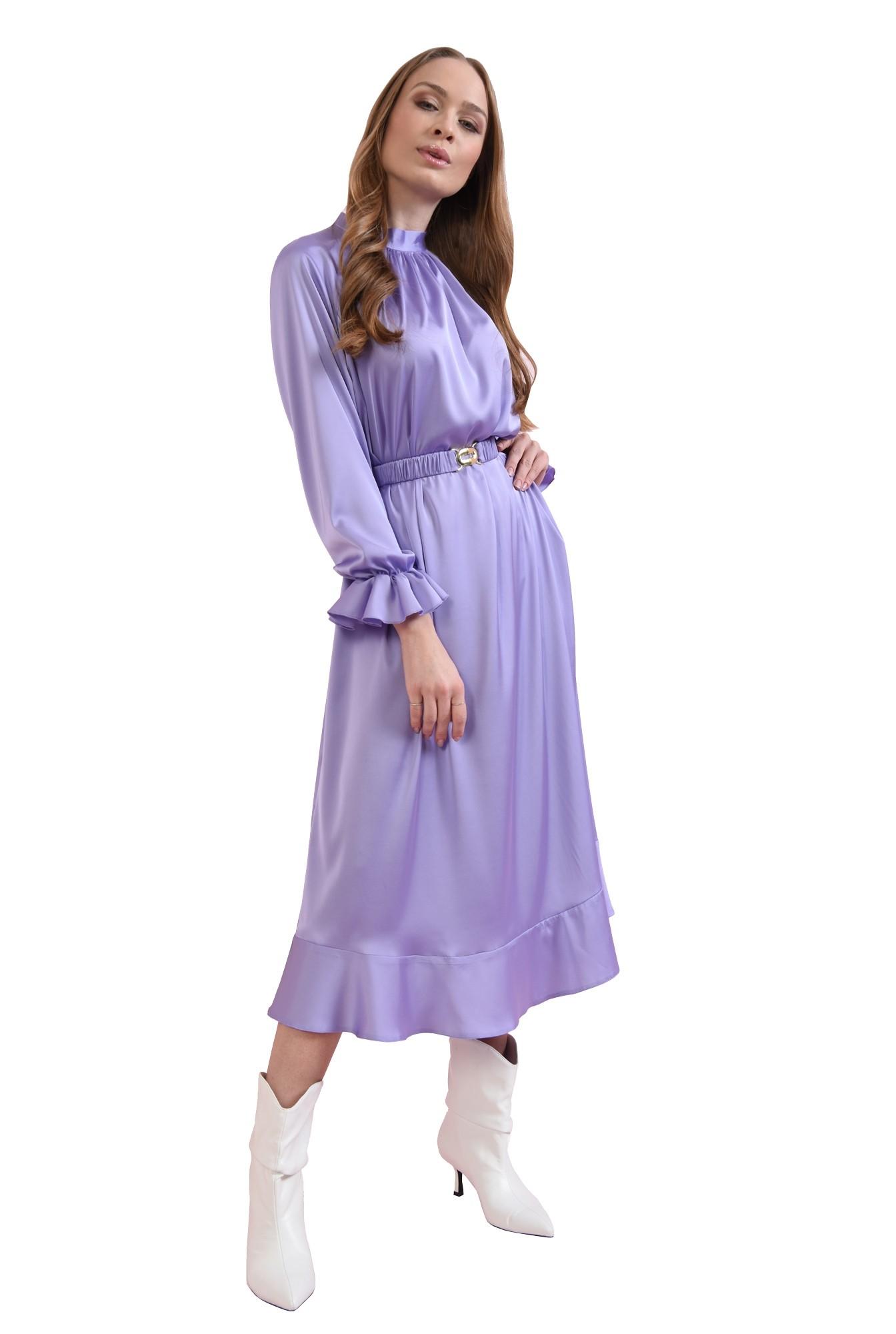 3 - rochie midi, lila, cu volan la maneca