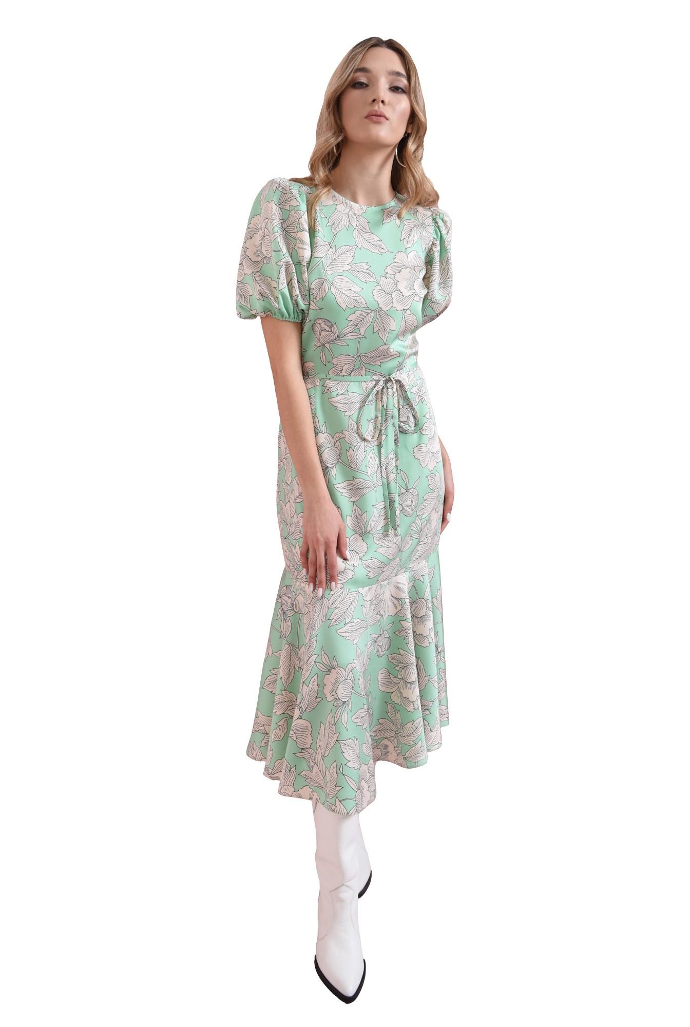 3 - rochie cu print, vernil, cu volan