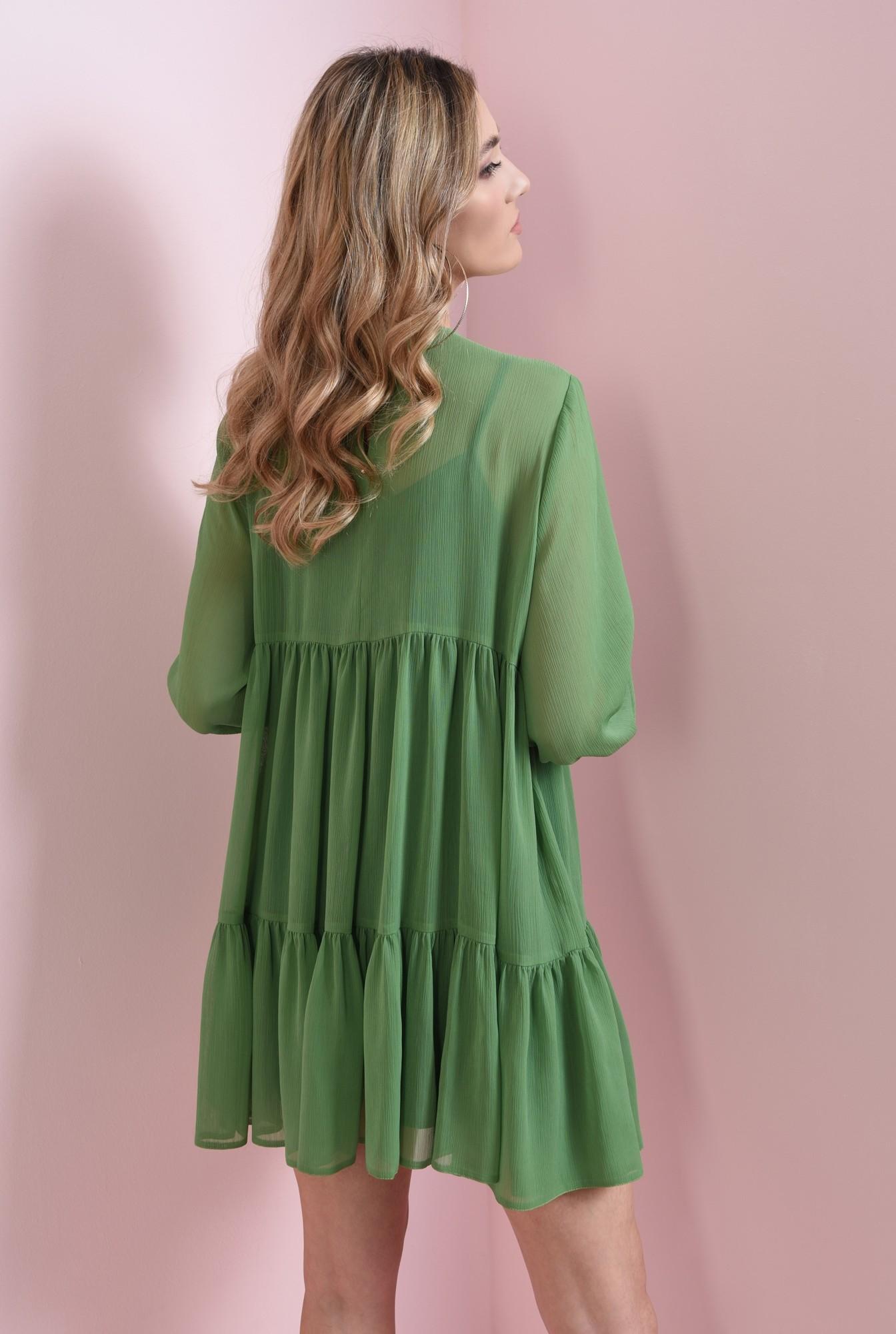 1 - rochie scurta, verde, cu volan, Poema