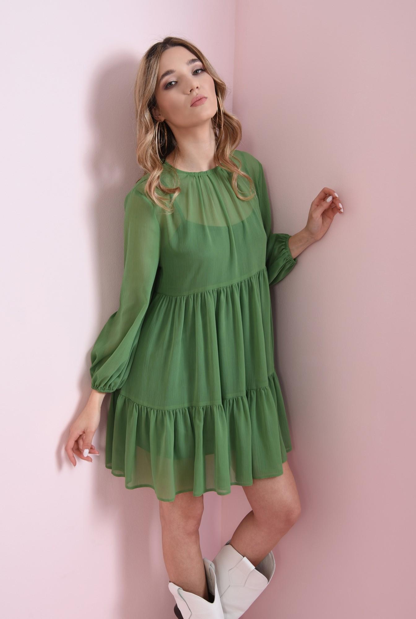 2 - rochie scurta, verde, cu volan, Poema