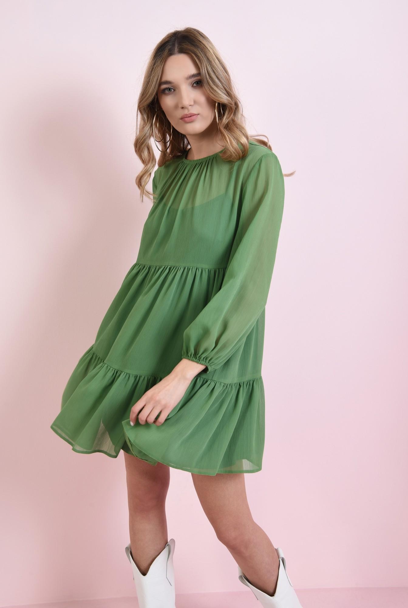 0 - rochie scurta, verde, cu volan, Poema