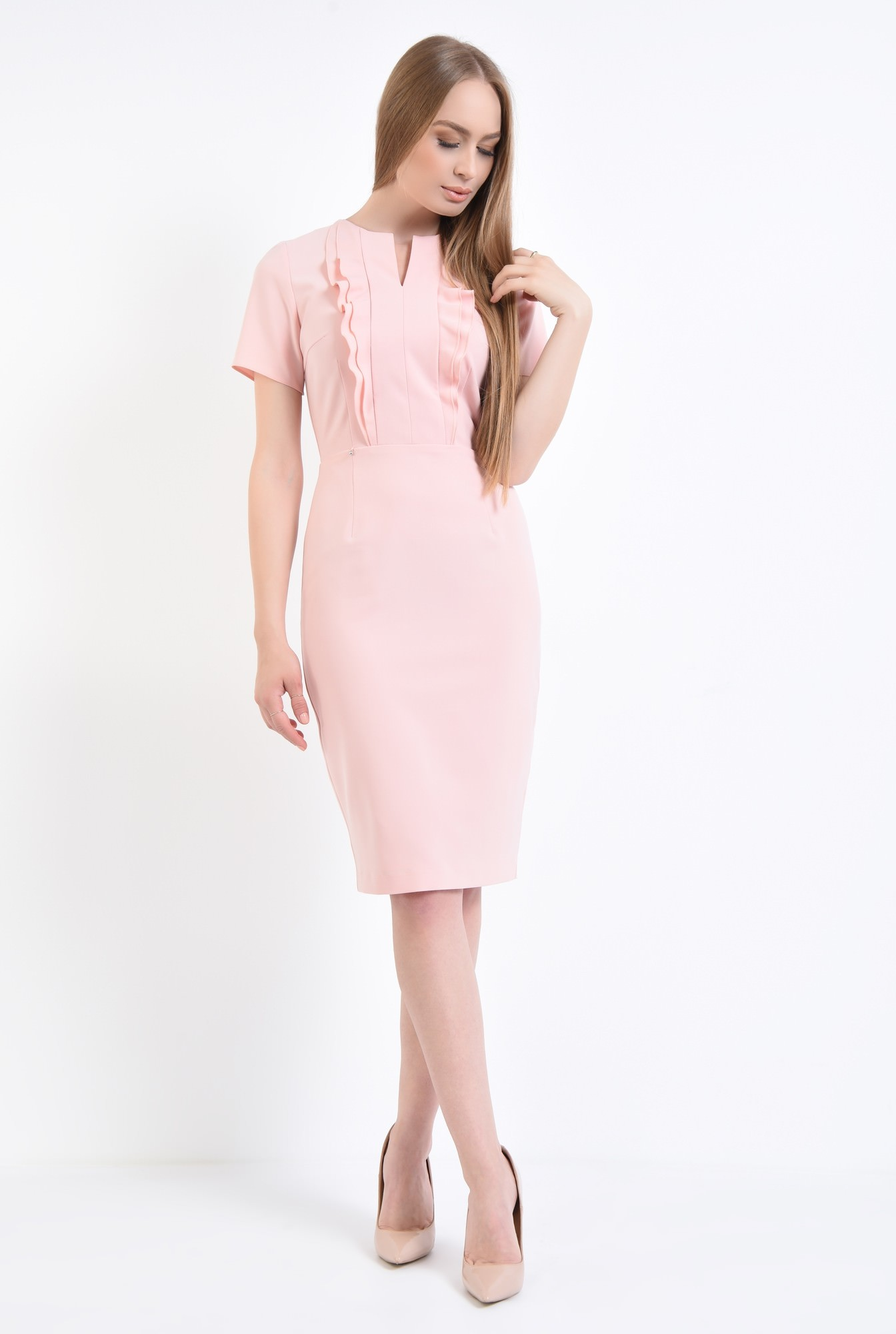 3 - Rochie conica, roz