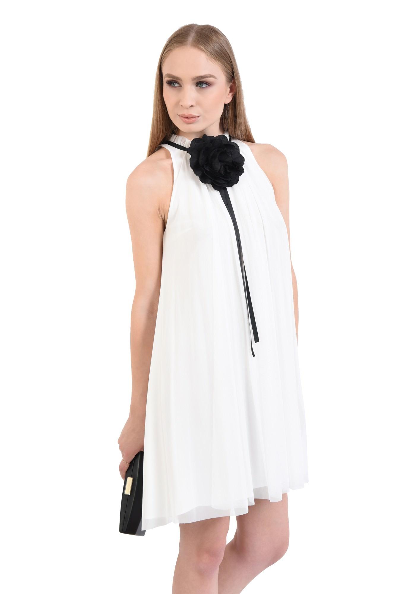 0 - rochii online, croi lejer, floare textila, contrast, tulle