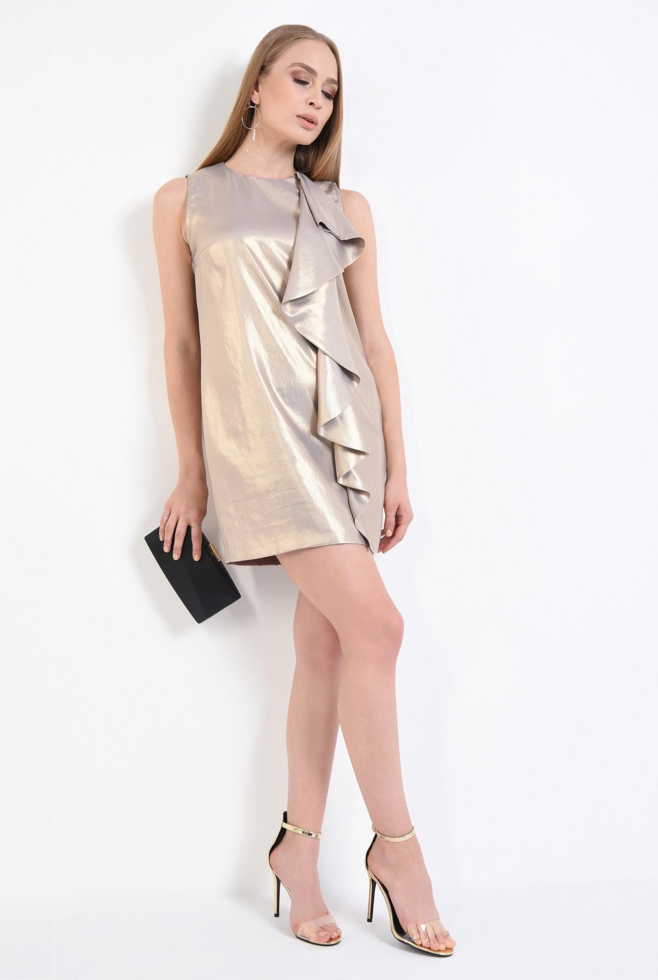 3 - rochie de ocazie, auriu, metalic, volan