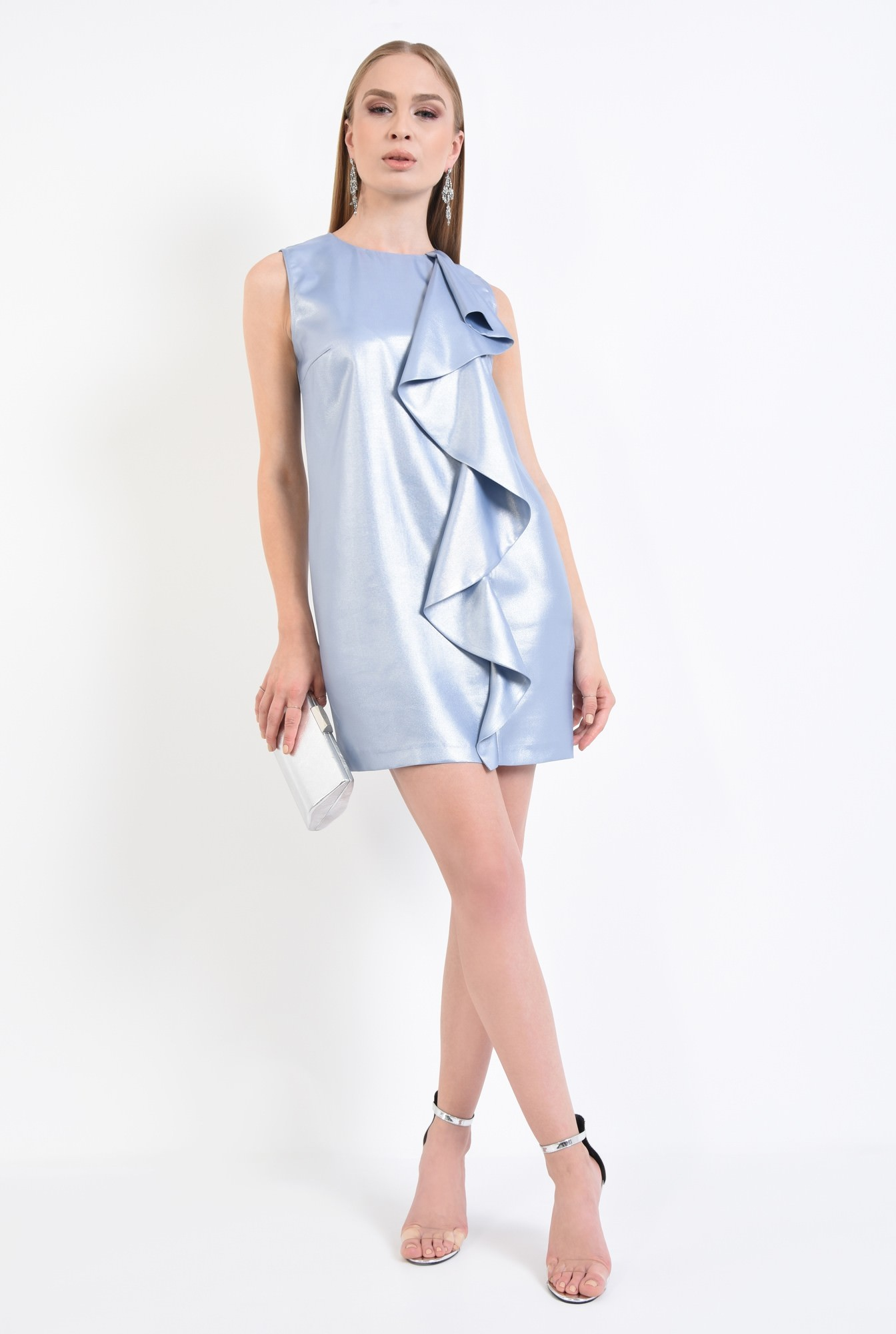 3 - rochie de ocazie, bleu, argintiu, scurta