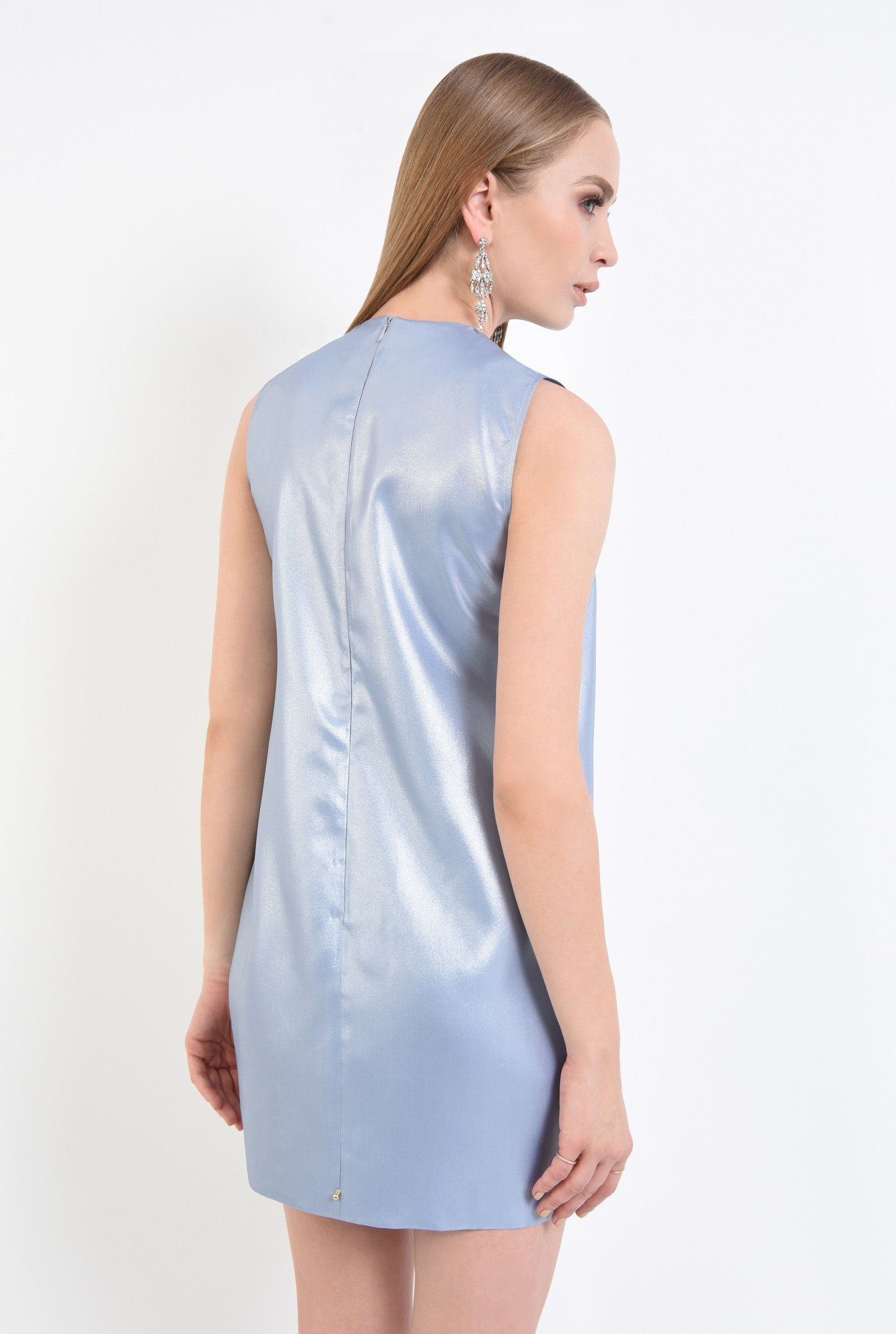 1 - rochie de ocazie, bleu, argintiu, scurta