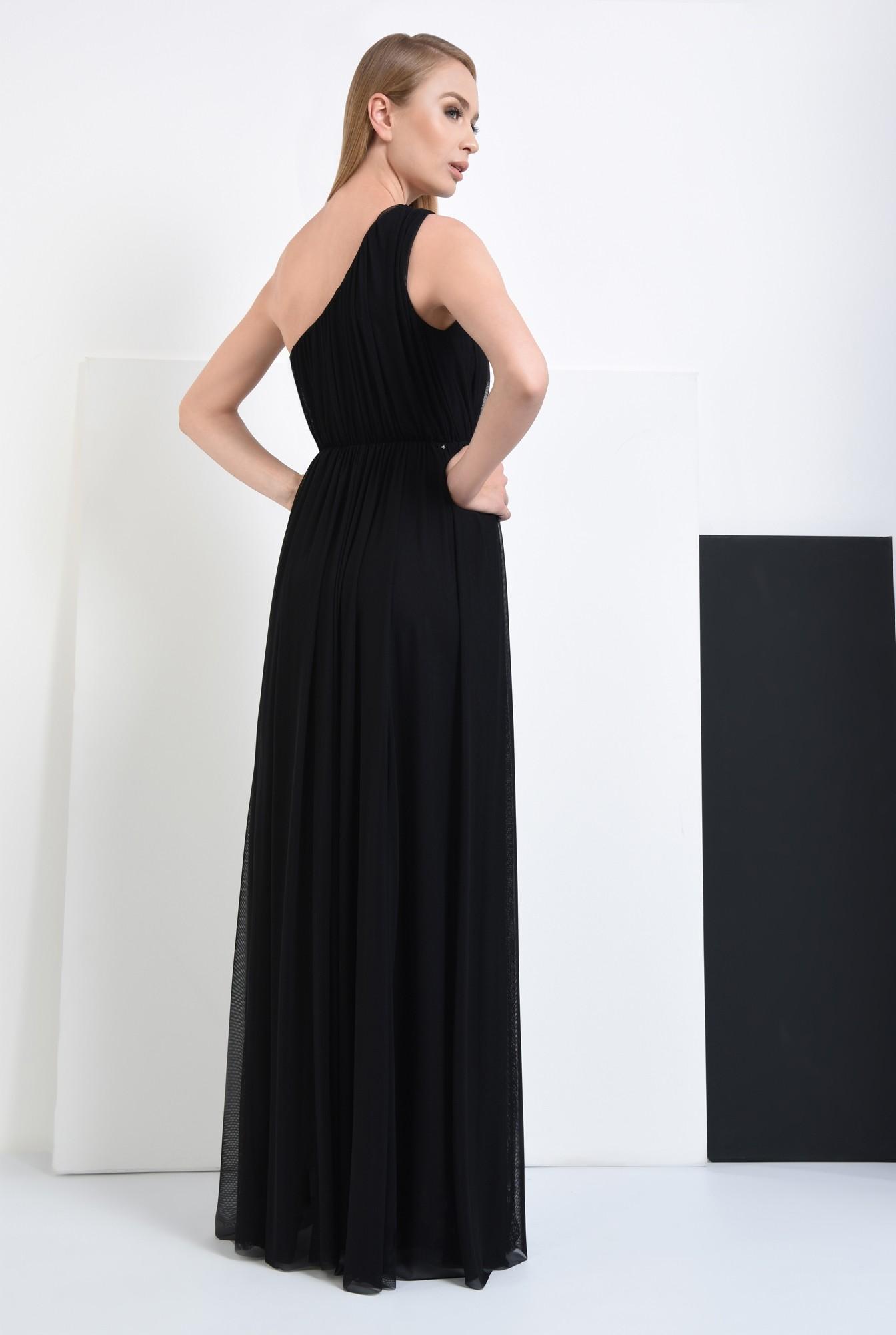 1 - 360 - rochie de seara, lunga, neagra, brosa, umar gol