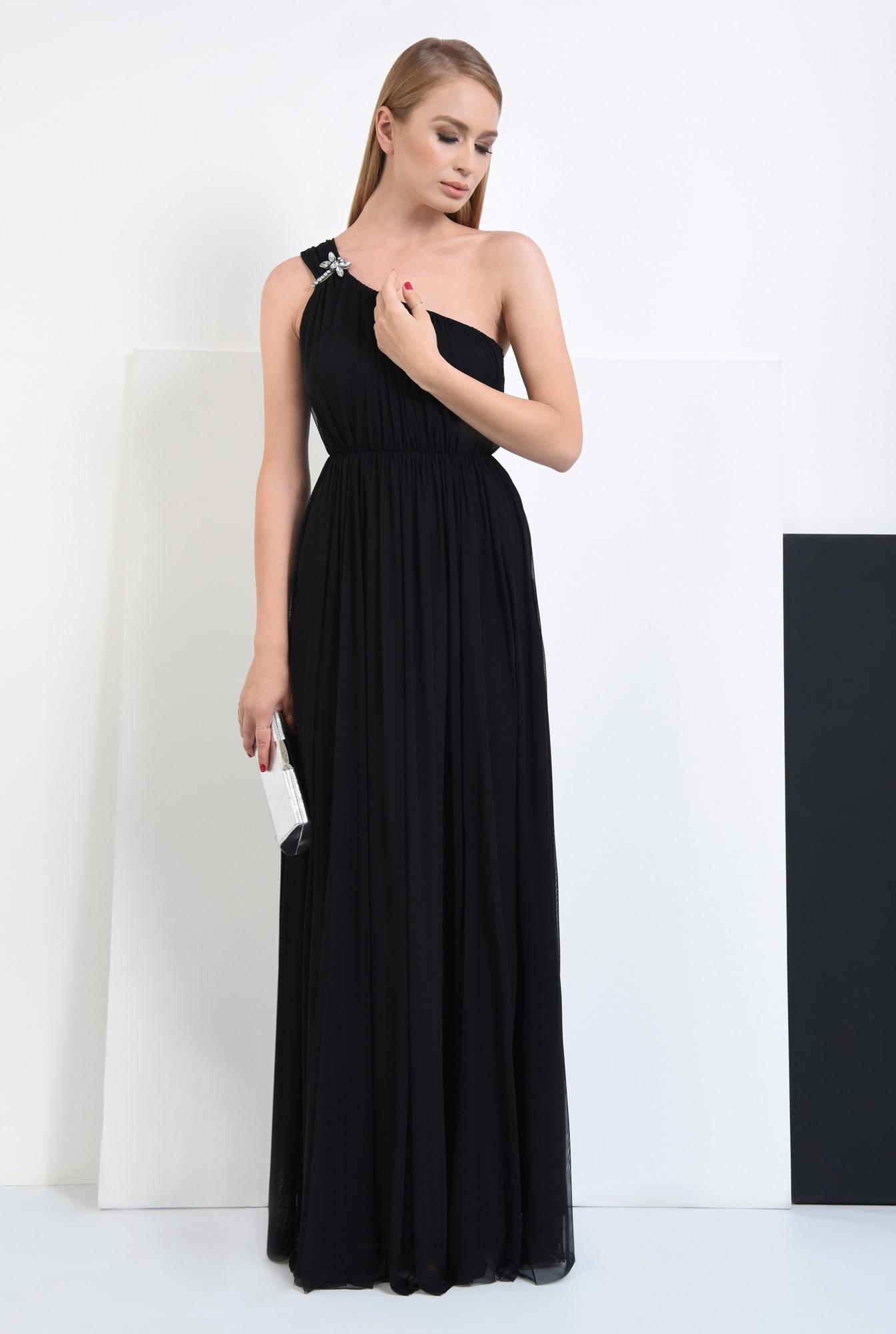 3 - 360 - rochie de seara, lunga, neagra, brosa, umar gol