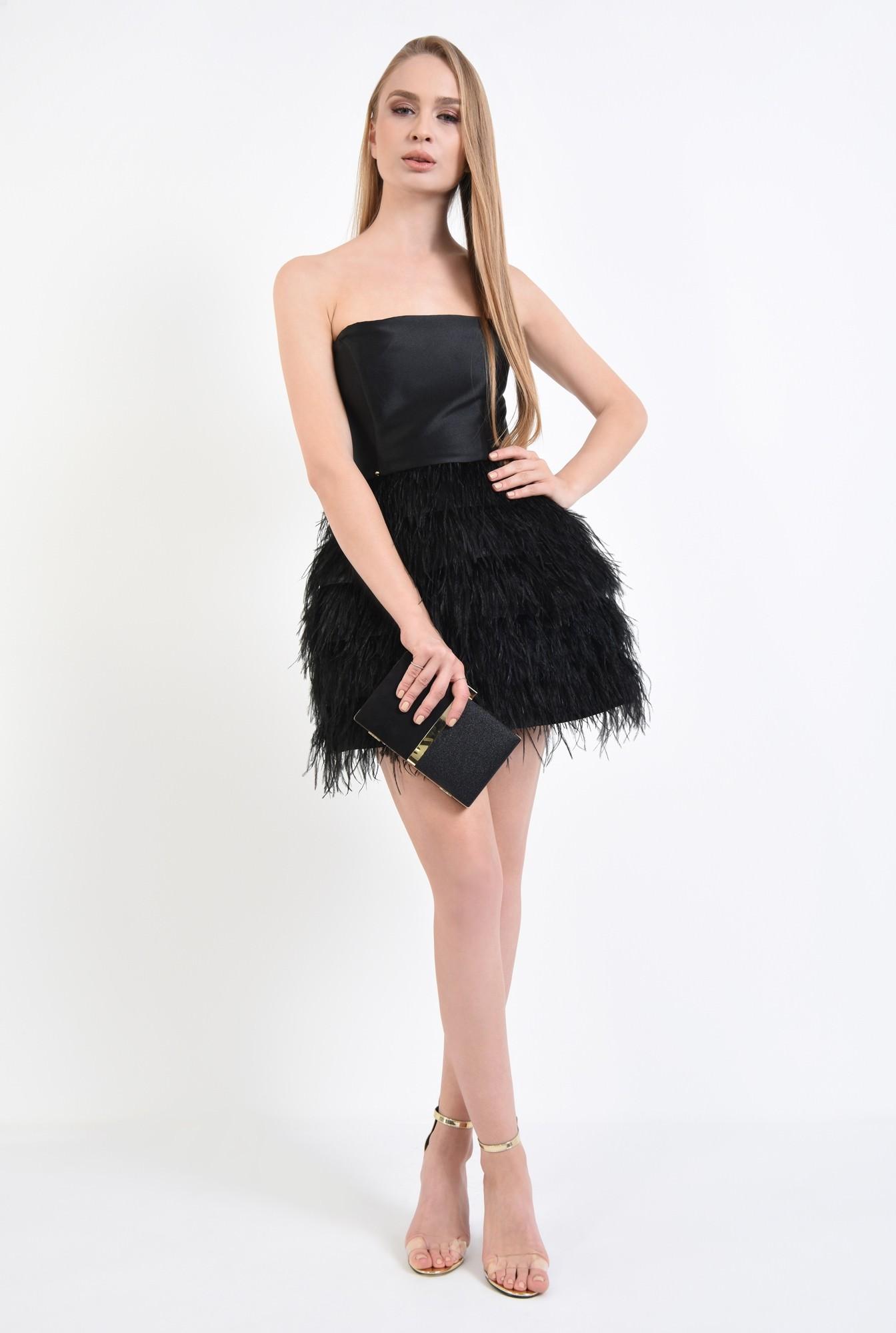 3 - rochie de ocazie, mini, pene de strut, corset