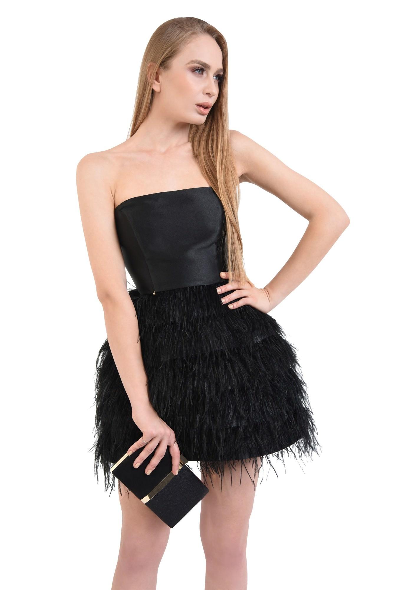0 - rochie de ocazie, mini, pene de strut, corset