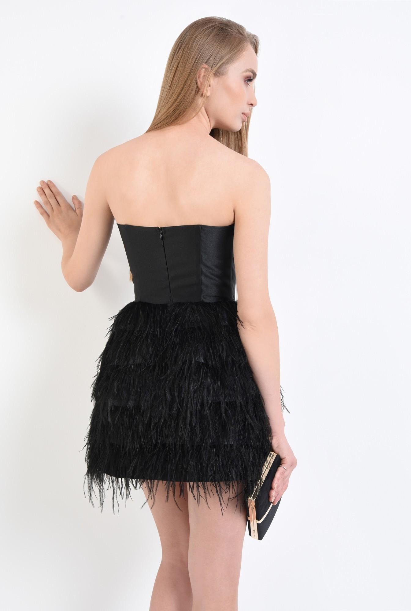 1 - rochie de ocazie, mini, pene de strut, corset