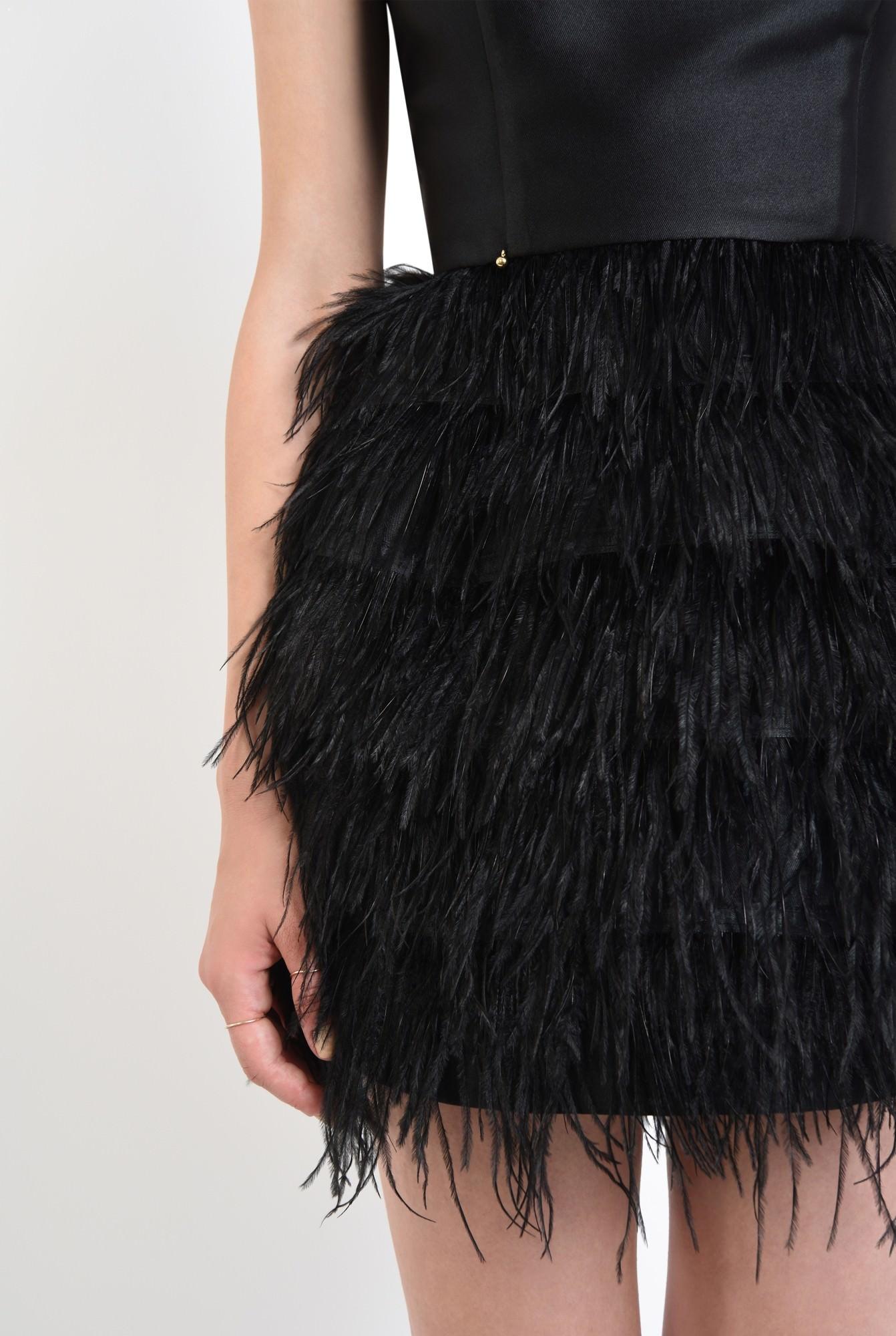 2 - rochie de ocazie, mini, pene de strut, corset