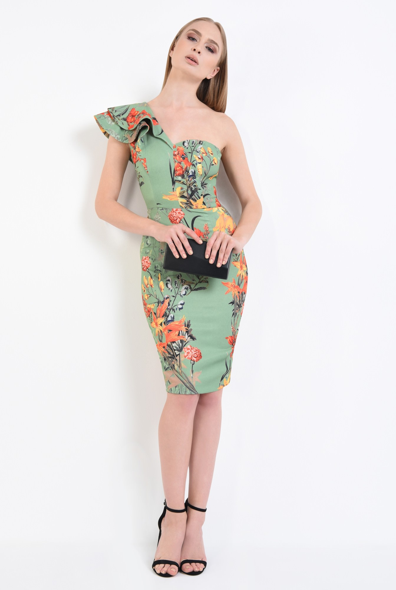 3 - rochie de ocazie, imprimeu floral, midi