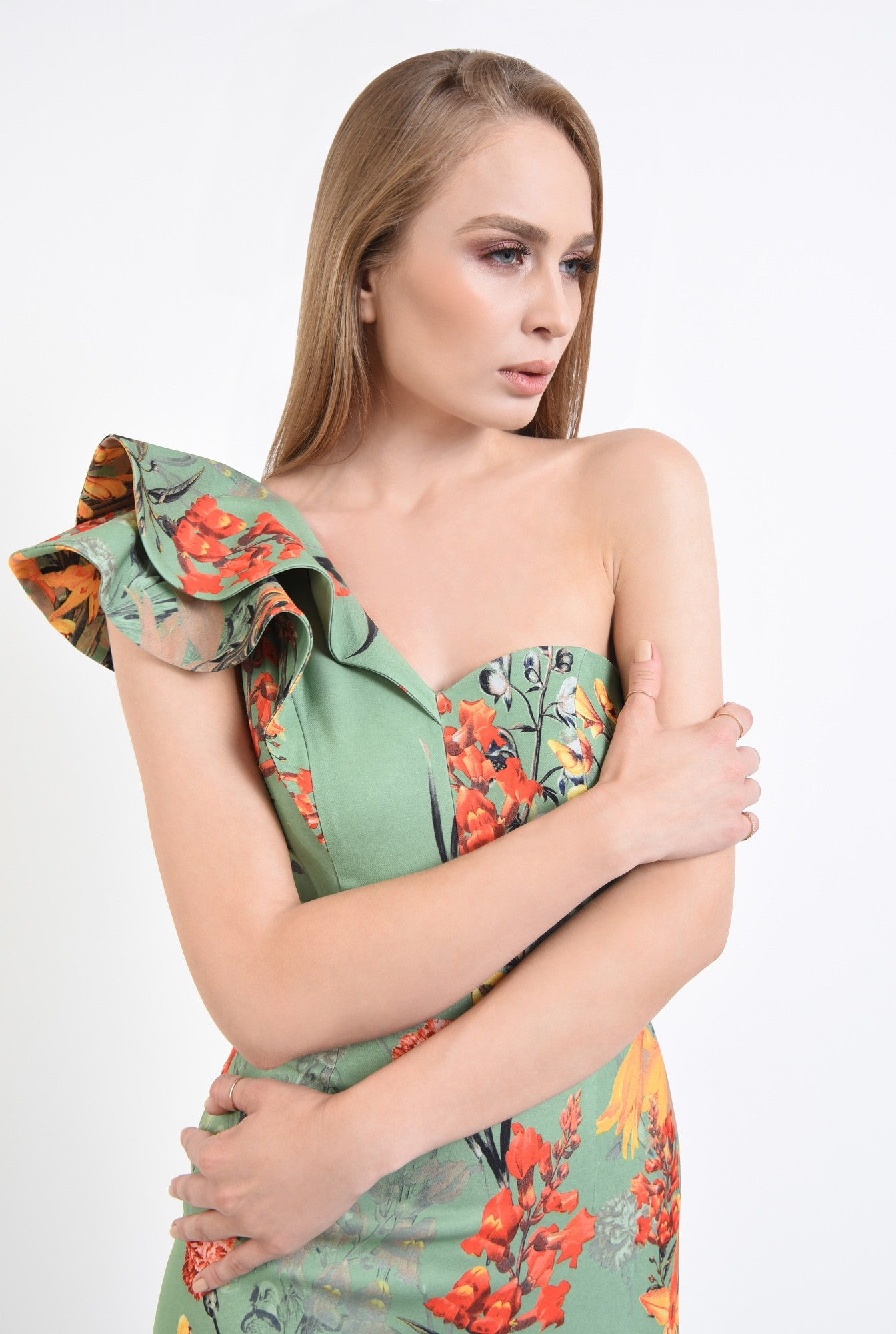 2 - rochie de ocazie, imprimeu floral, midi