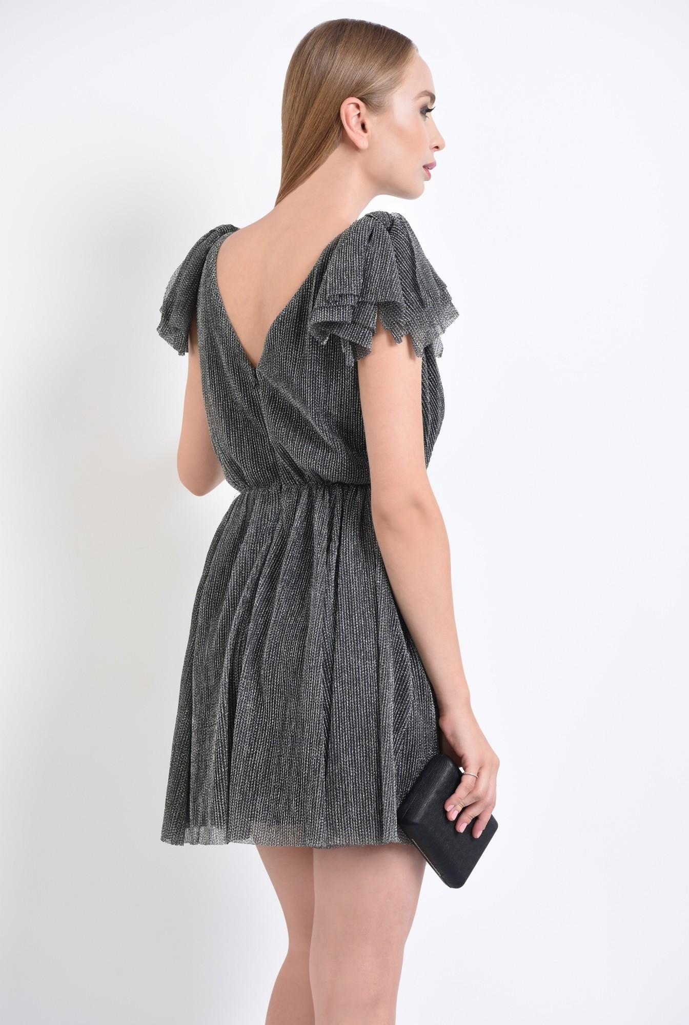 1 - rochie de ocazie, argintiu, negru, lurex, funde