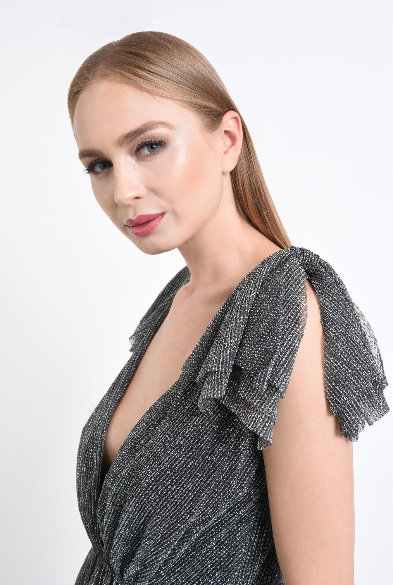 2 - rochie de ocazie, argintiu, negru, lurex, funde