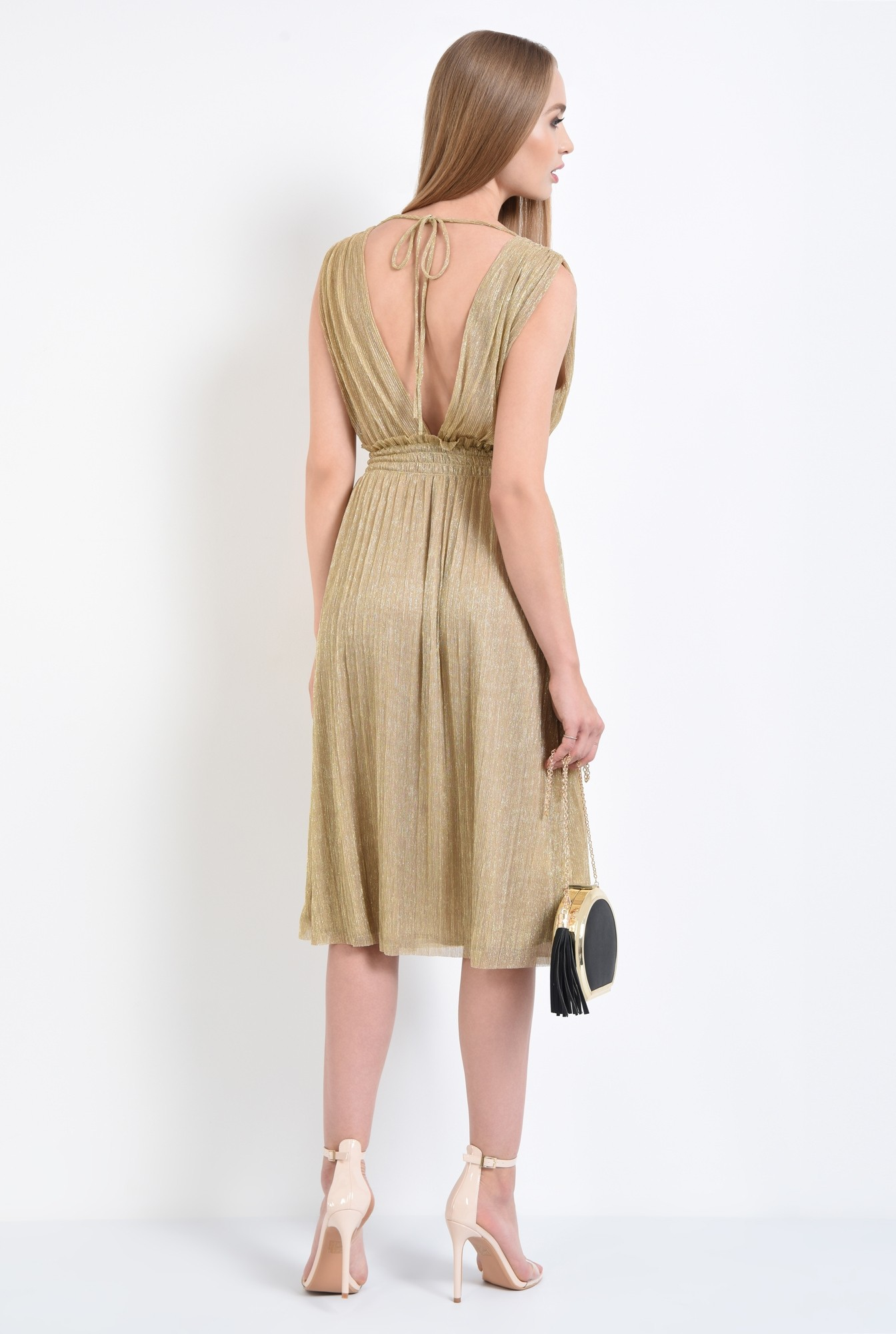 1 - rochie de ocazie, lurex, auriu, spate decoltat