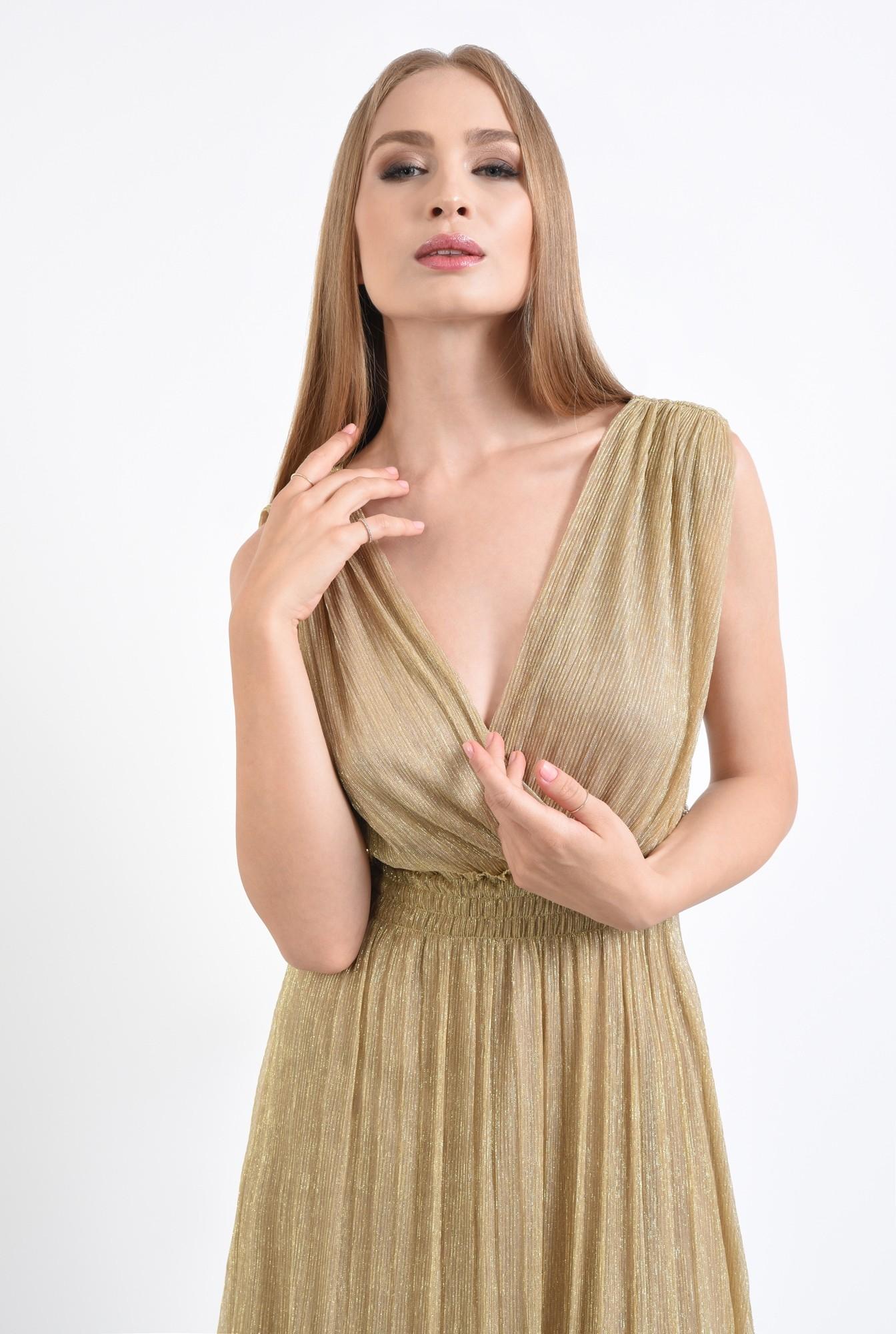 2 - rochie de ocazie, lurex, auriu, spate decoltat