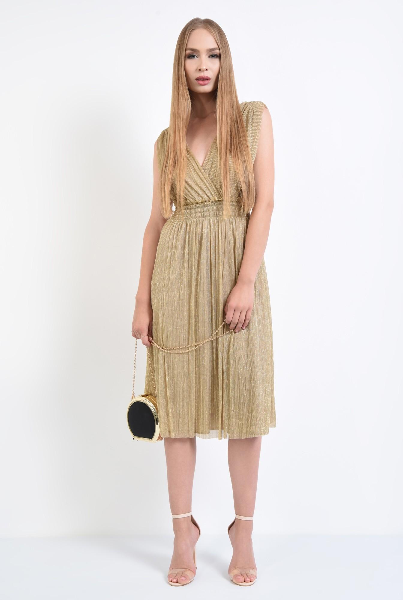 3 - rochie de ocazie, lurex, auriu, spate decoltat