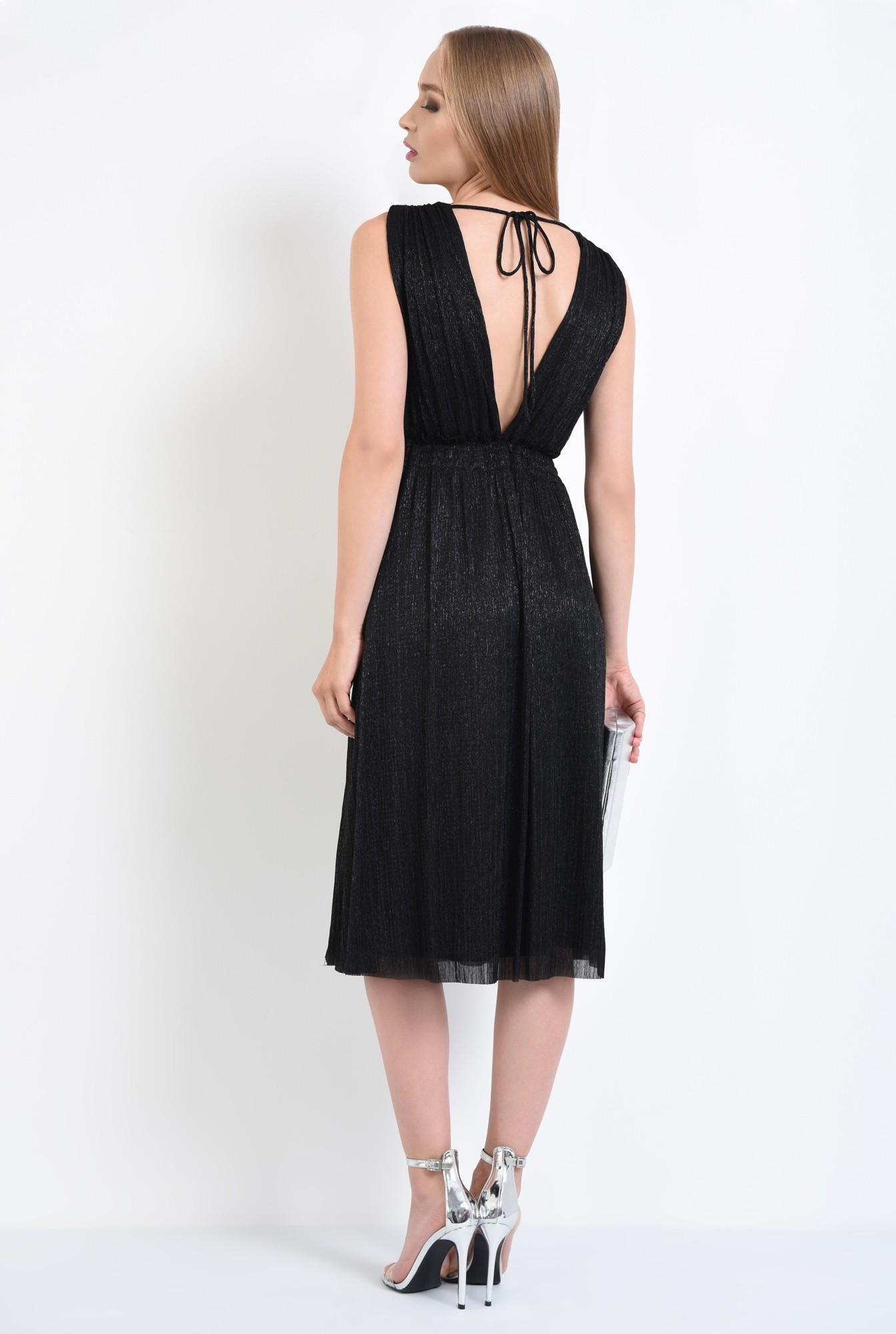1 - rochie de seara, lurex, negru, spate gol, snur, cu funda