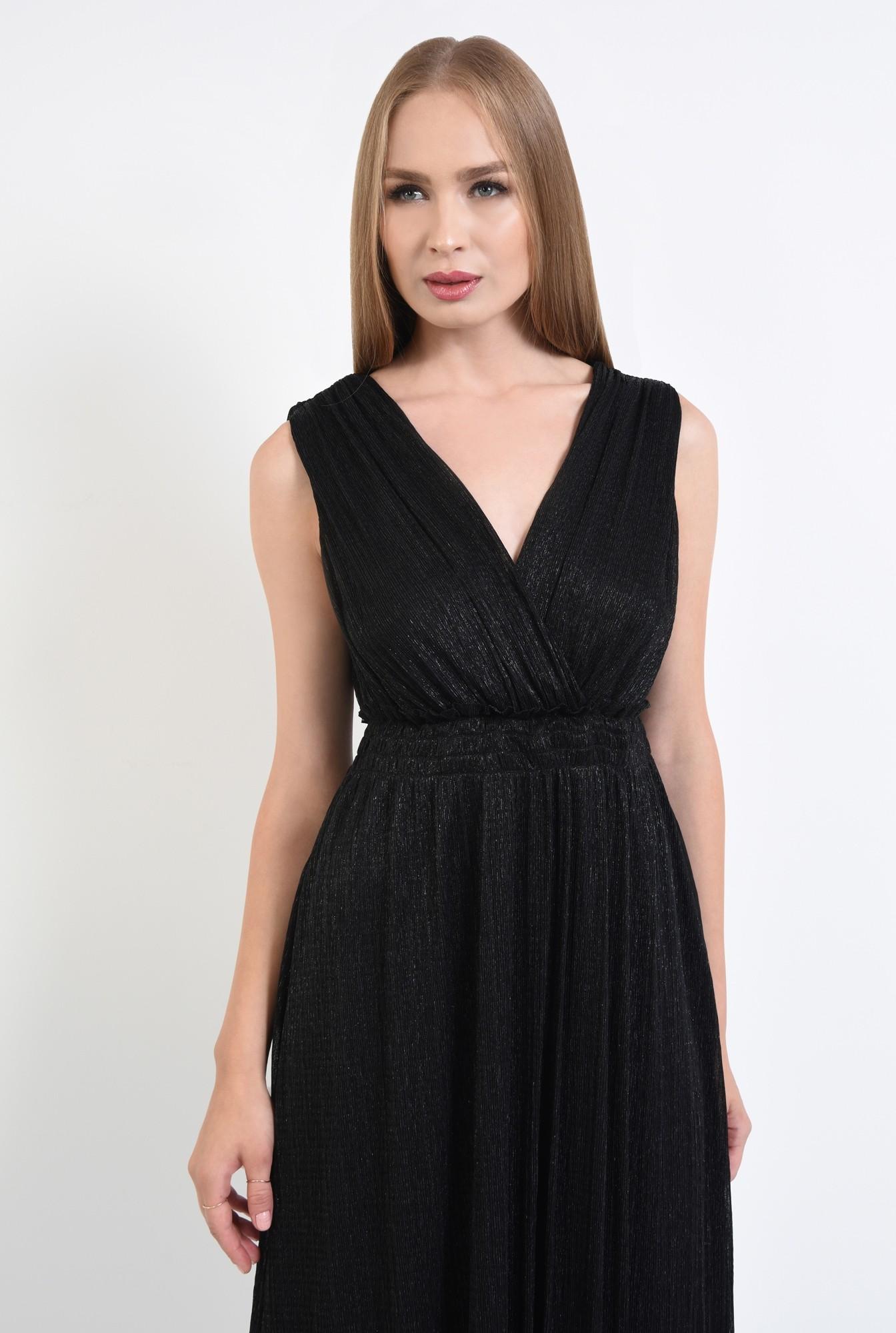 2 - rochie de seara, lurex, negru, spate gol, snur, cu funda