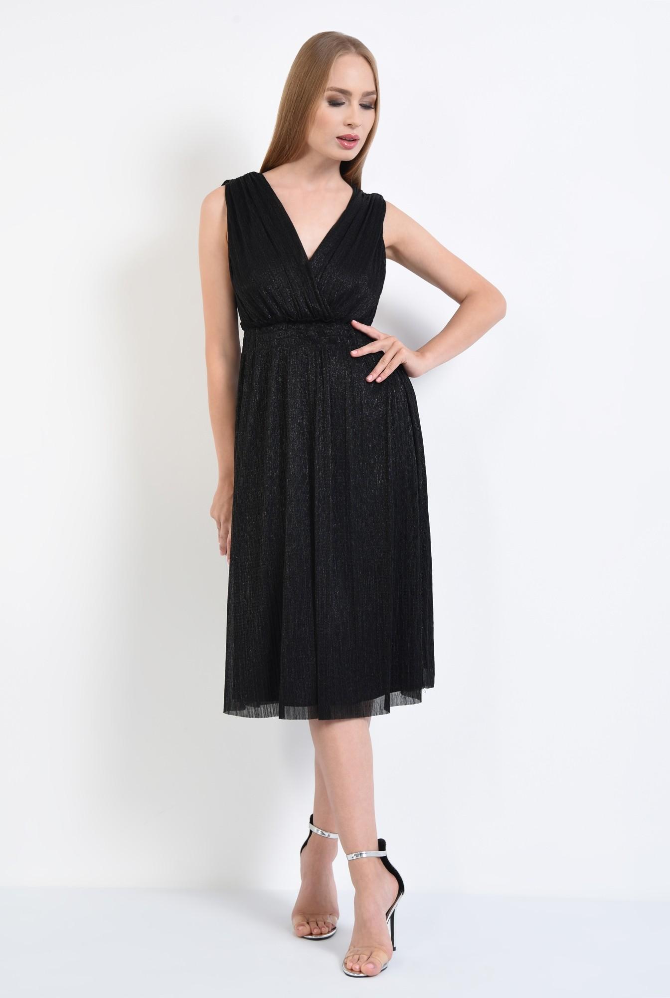3 - rochie de seara, lurex, negru, spate gol, snur, cu funda