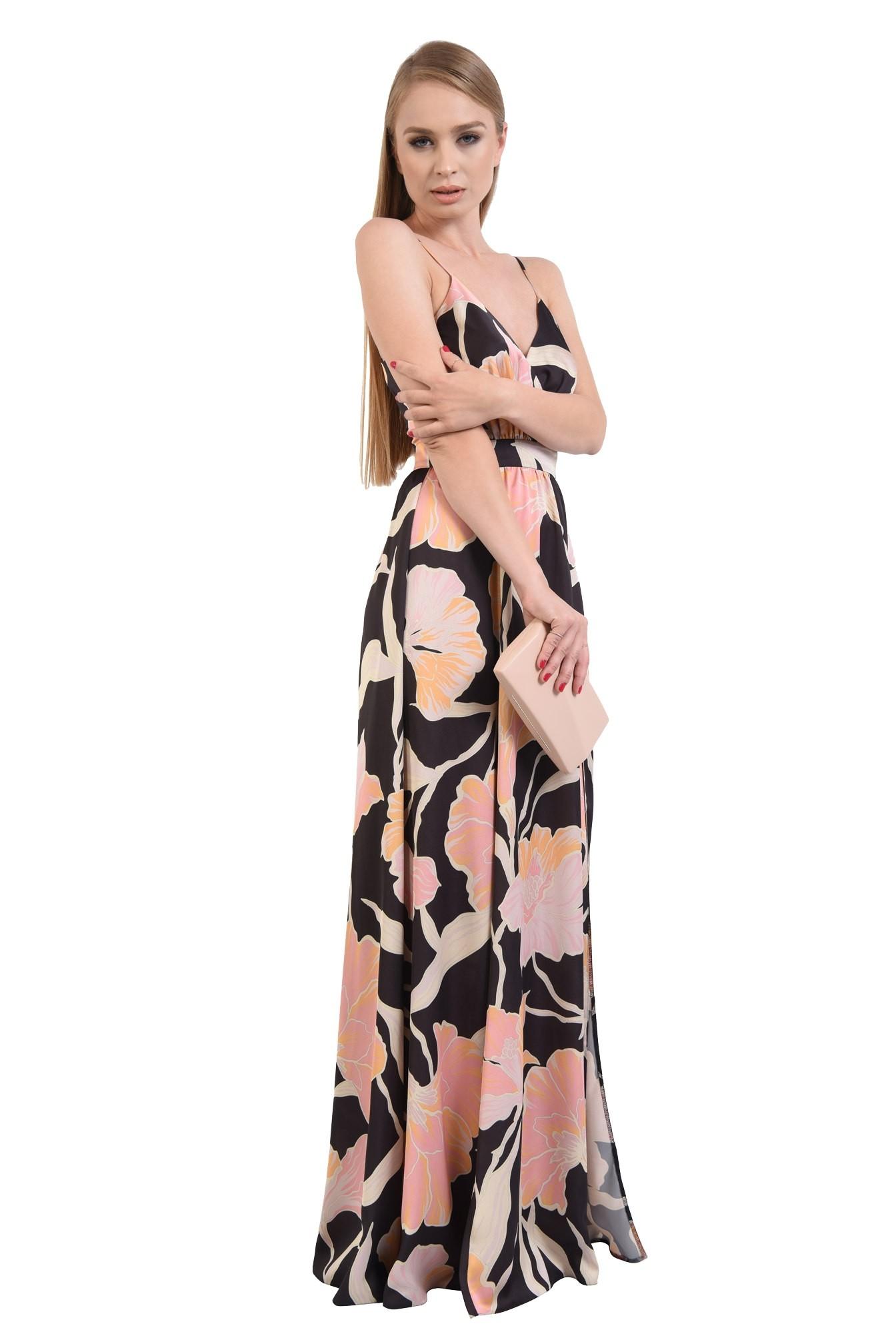 0 - rochie de ocazie, maxi, croi clos, imprimeu floral