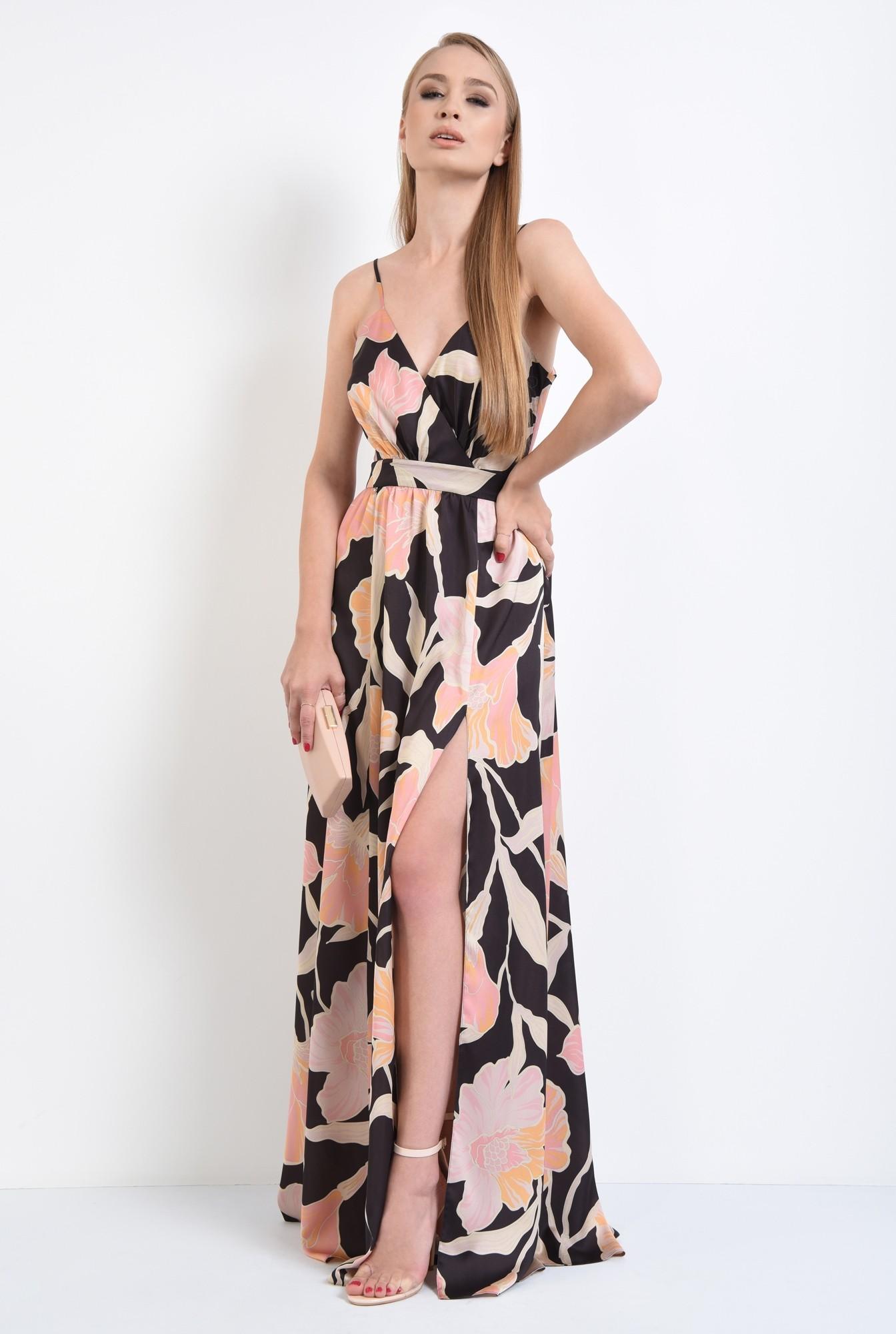 3 - rochie de ocazie, maxi, croi clos, imprimeu floral