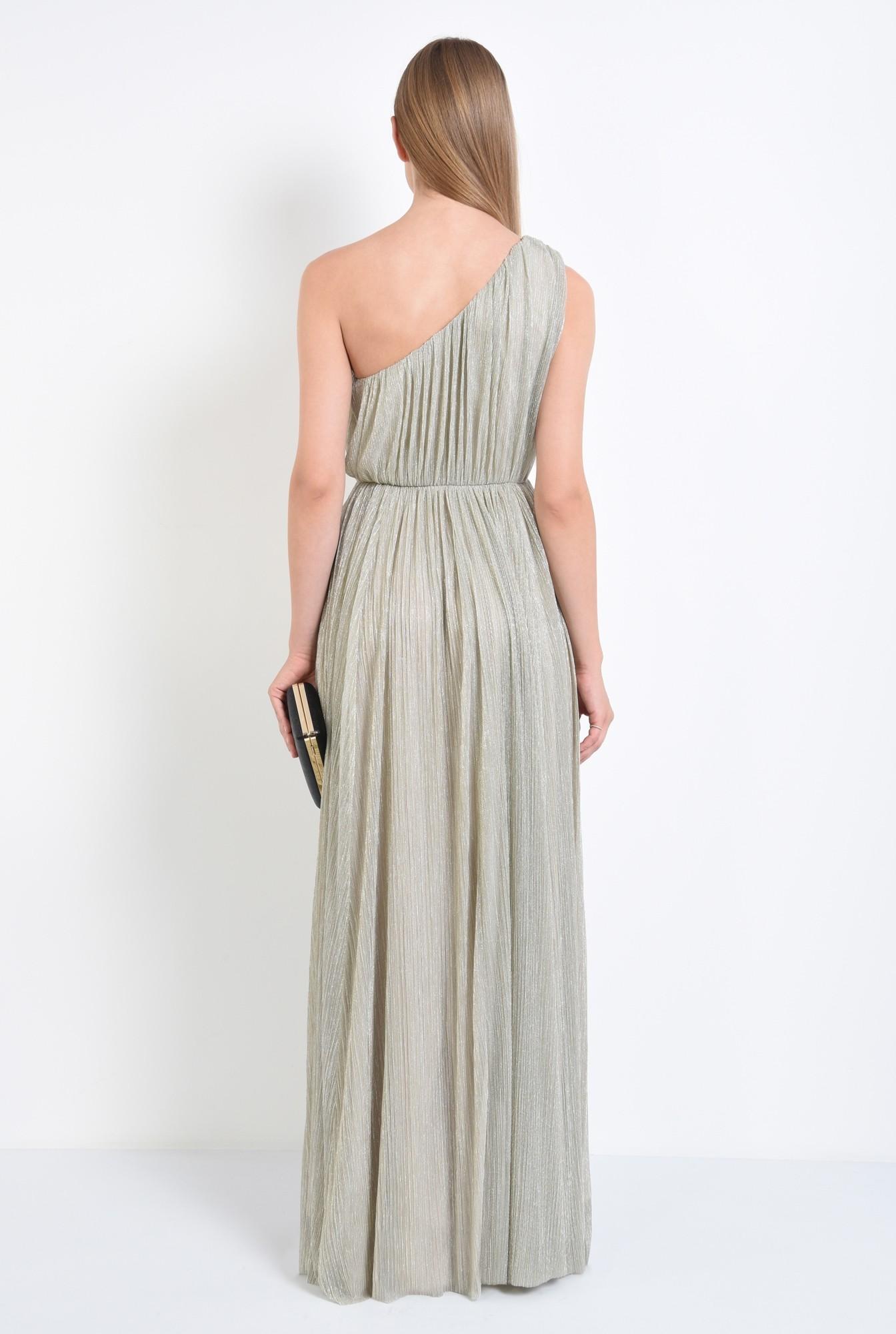 1 - rochie eleganta, lunga, lurex, argintiu, cu umarul gol