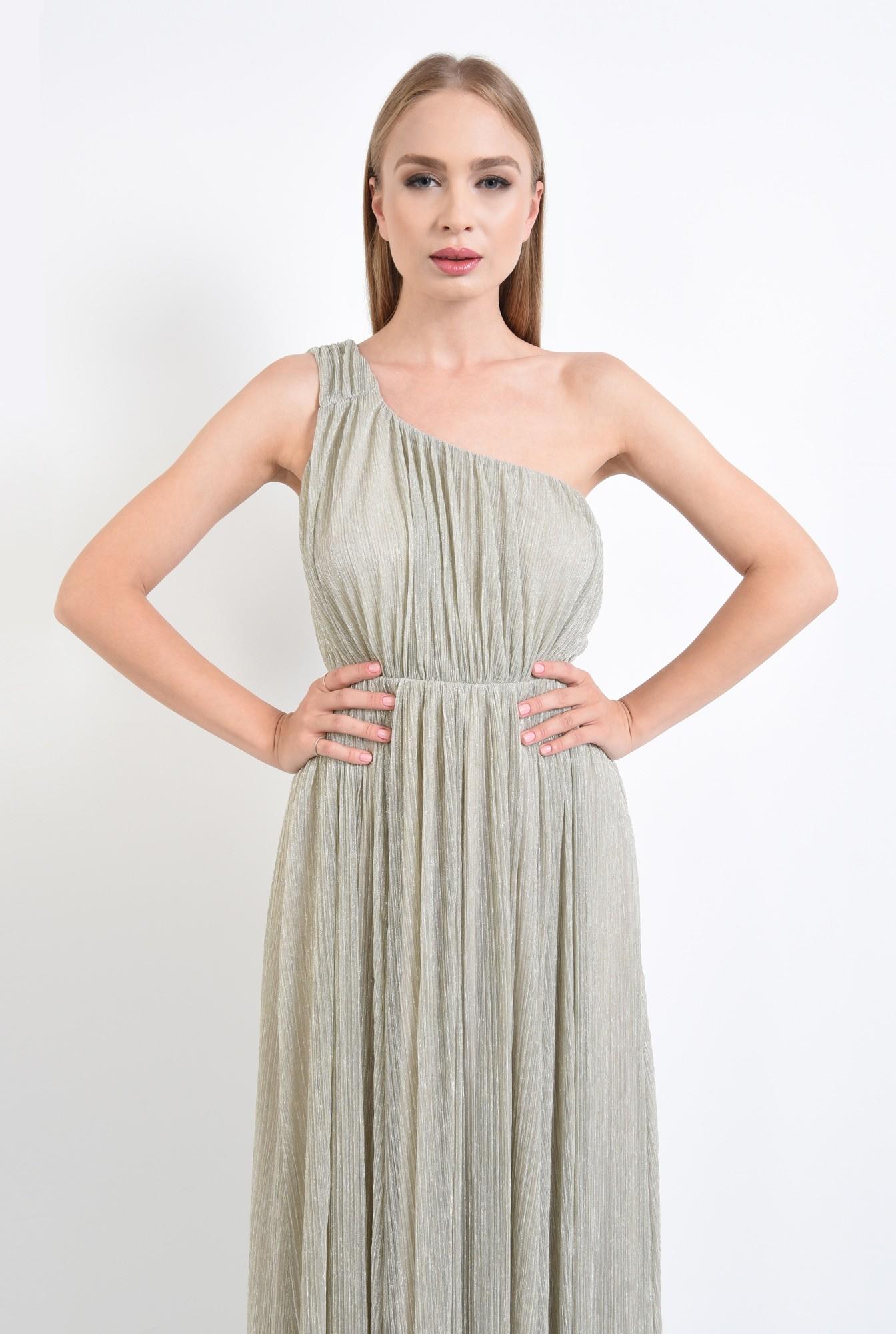 2 - rochie eleganta, lunga, lurex, argintiu, cu umarul gol