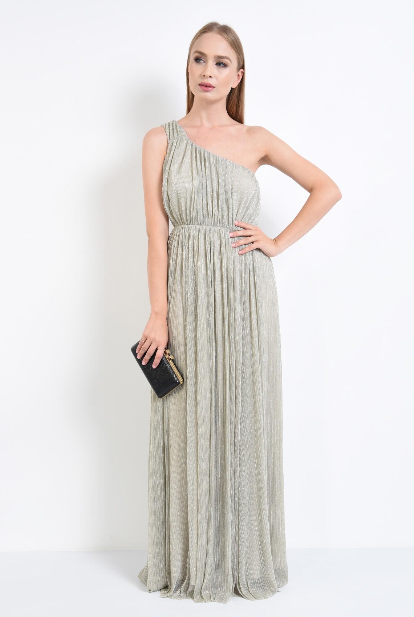 3 - rochie eleganta, lunga, lurex, argintiu, cu umarul gol