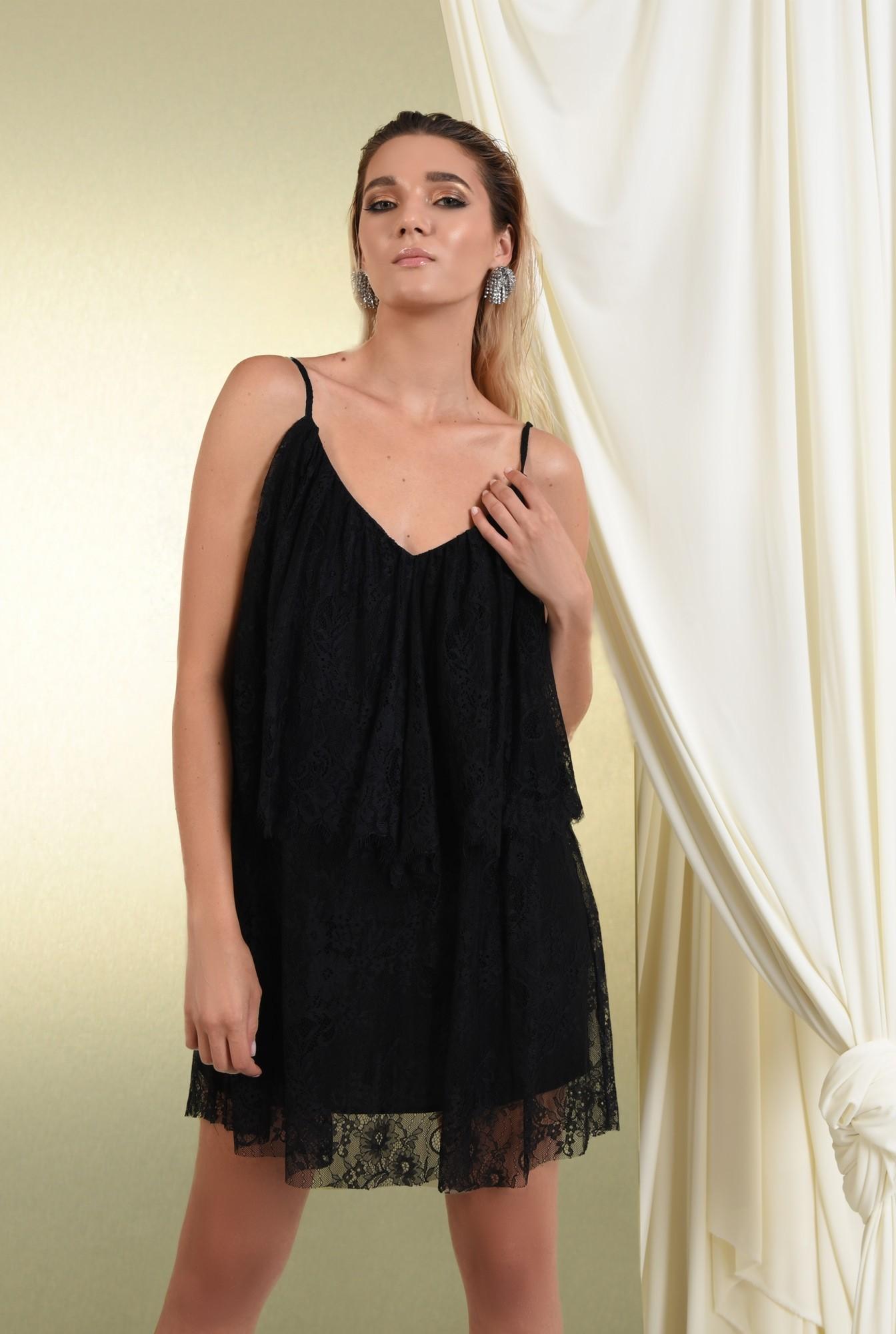 0 - rochie de seara, scurta, din dantela, negru, bretele subtiri
