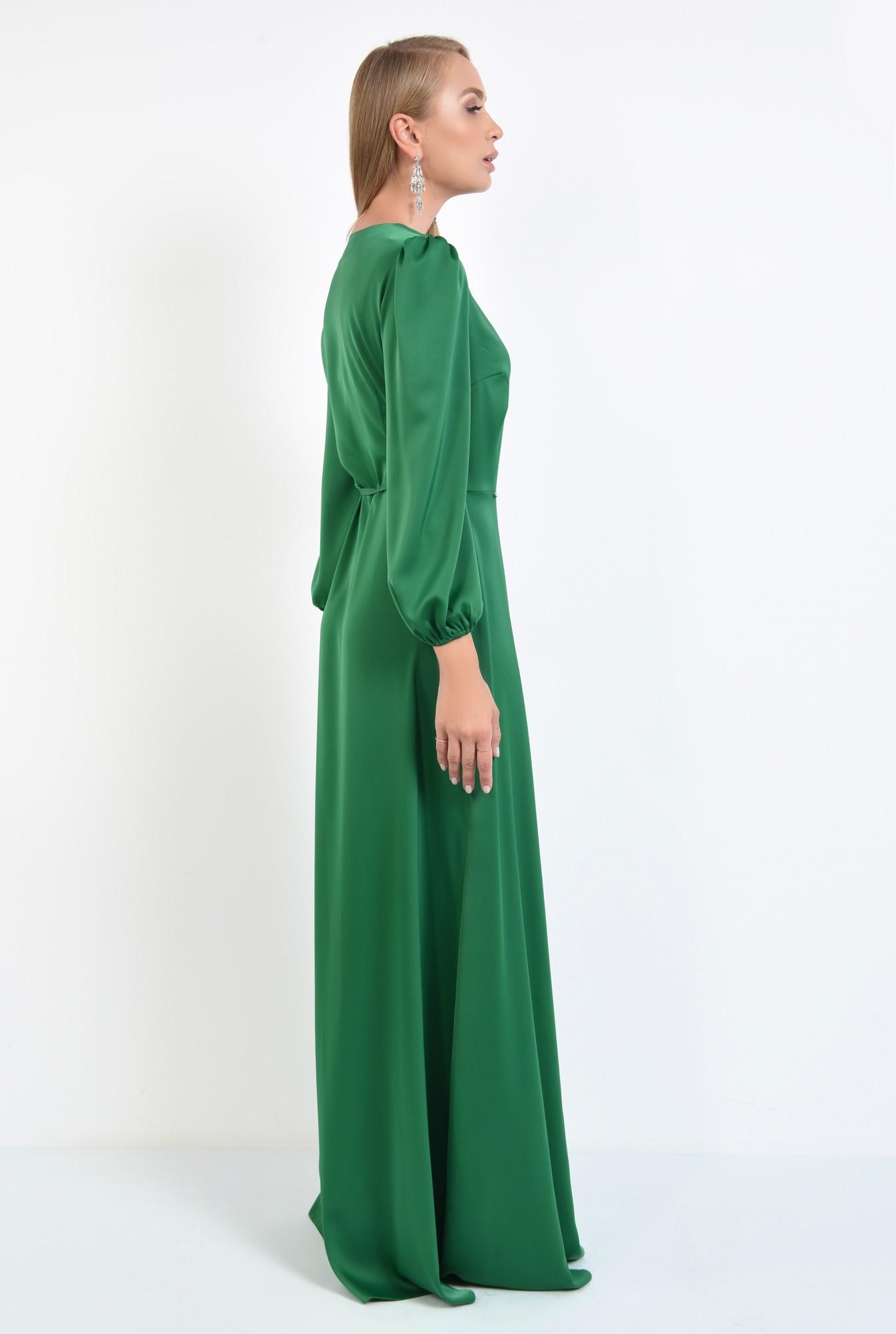 1 - rochie de seara, slit adanc, verde, satin, rochie maxi