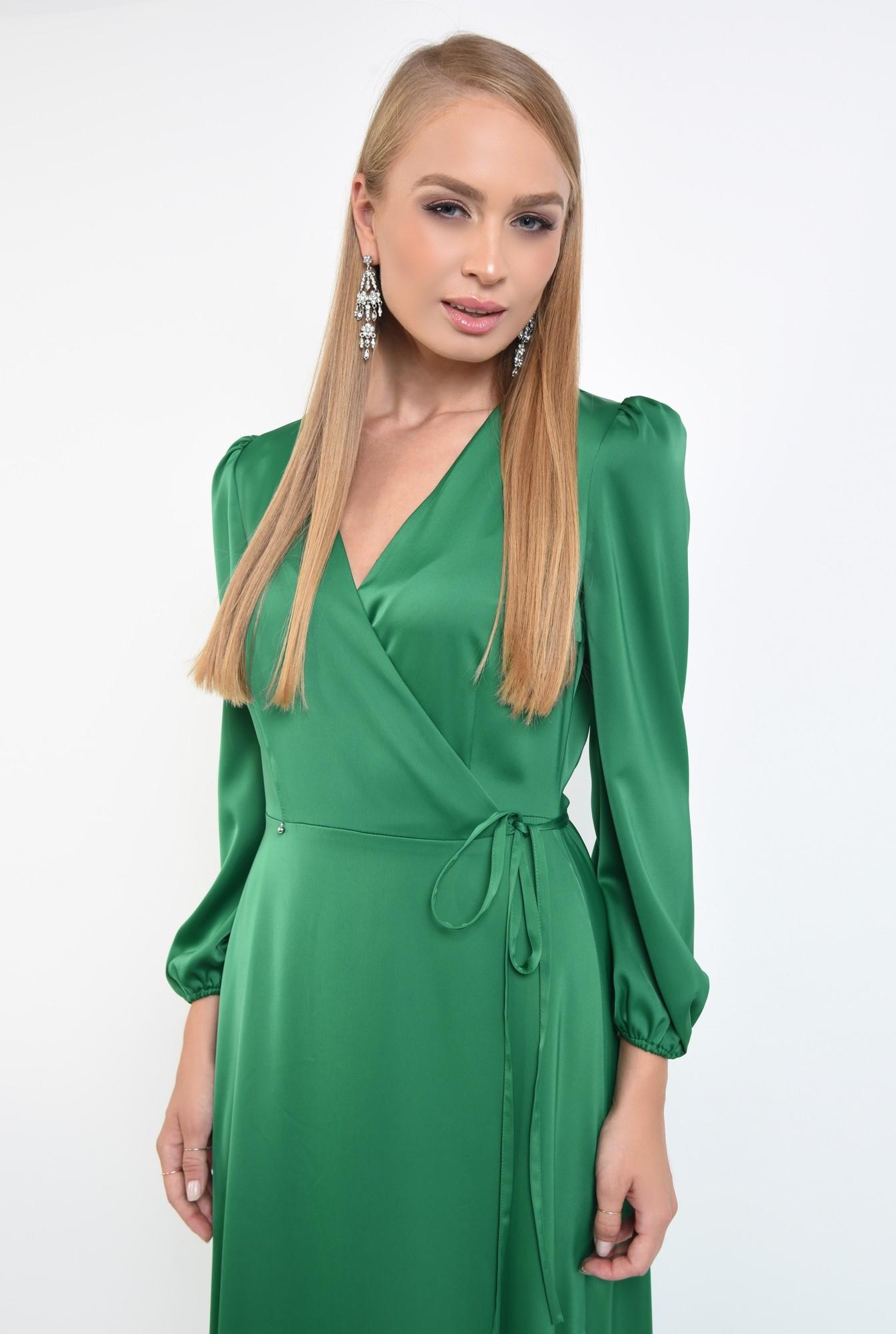 2 - rochie de seara, slit adanc, verde, satin, rochie maxi