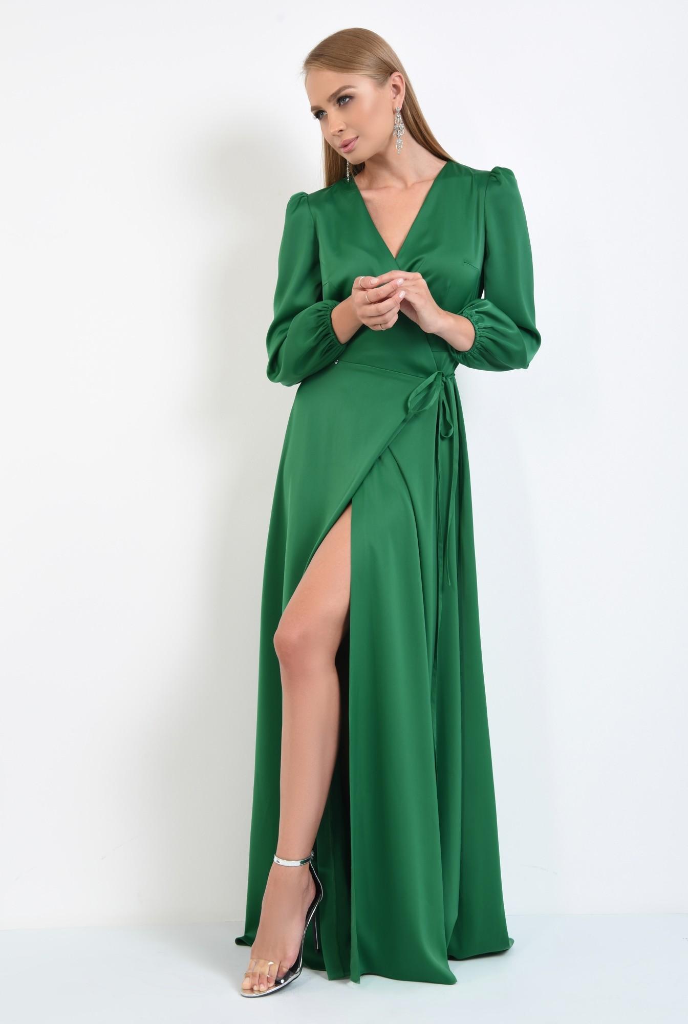 3 - rochie de seara, slit adanc, verde, satin, rochie maxi