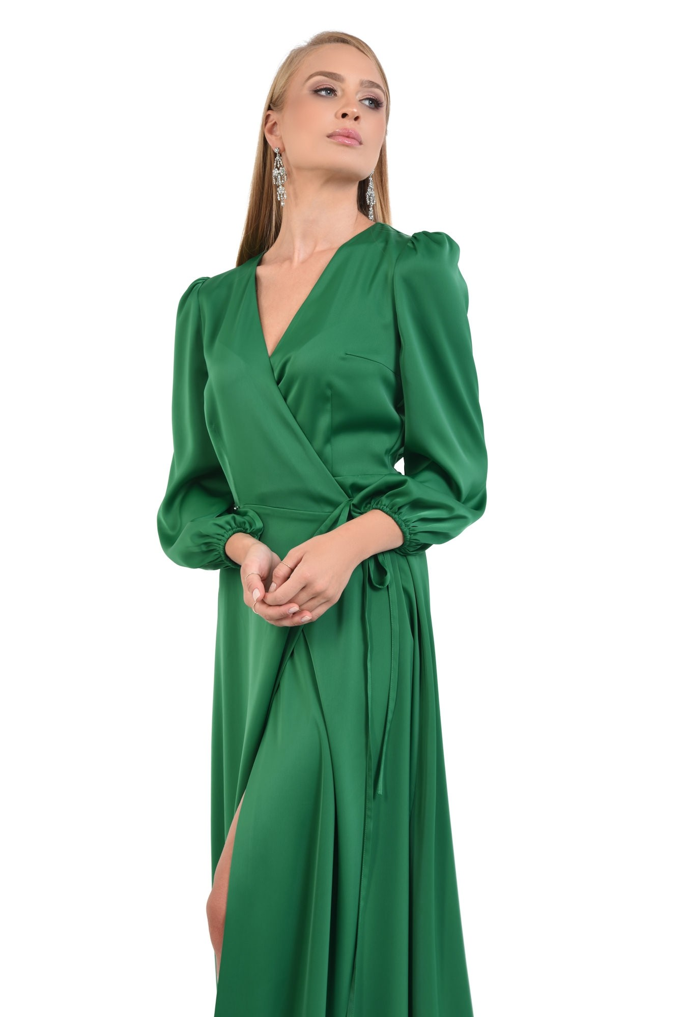 0 - rochie de seara, slit adanc, verde, satin, rochie maxi