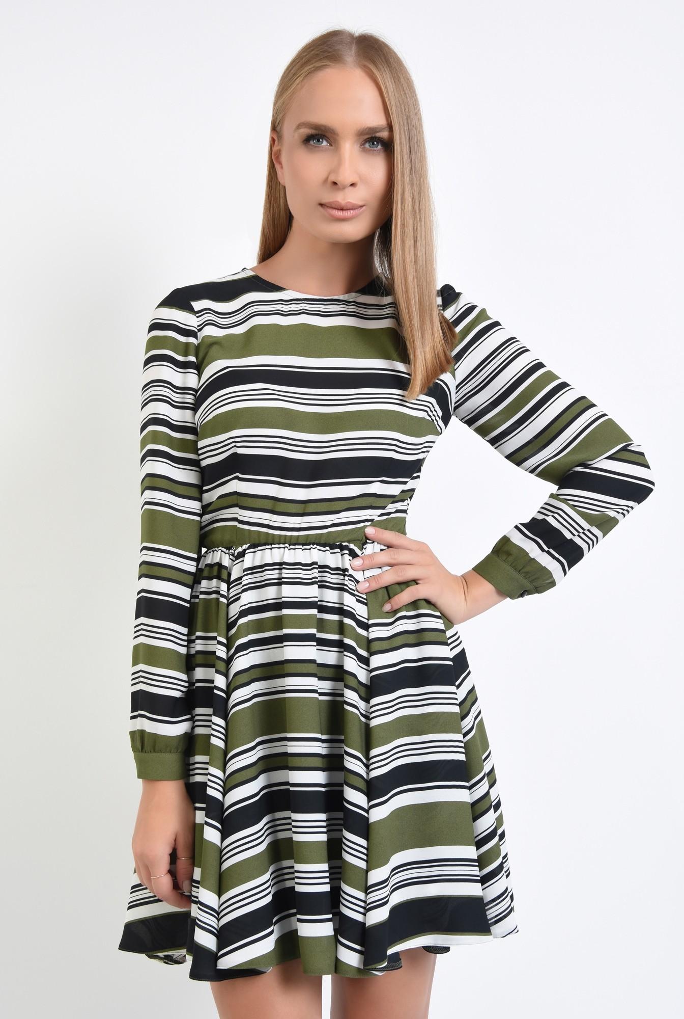 2 - rochie casual, talie pe elastic, decolteu rotund la baza gatului, rochii online
