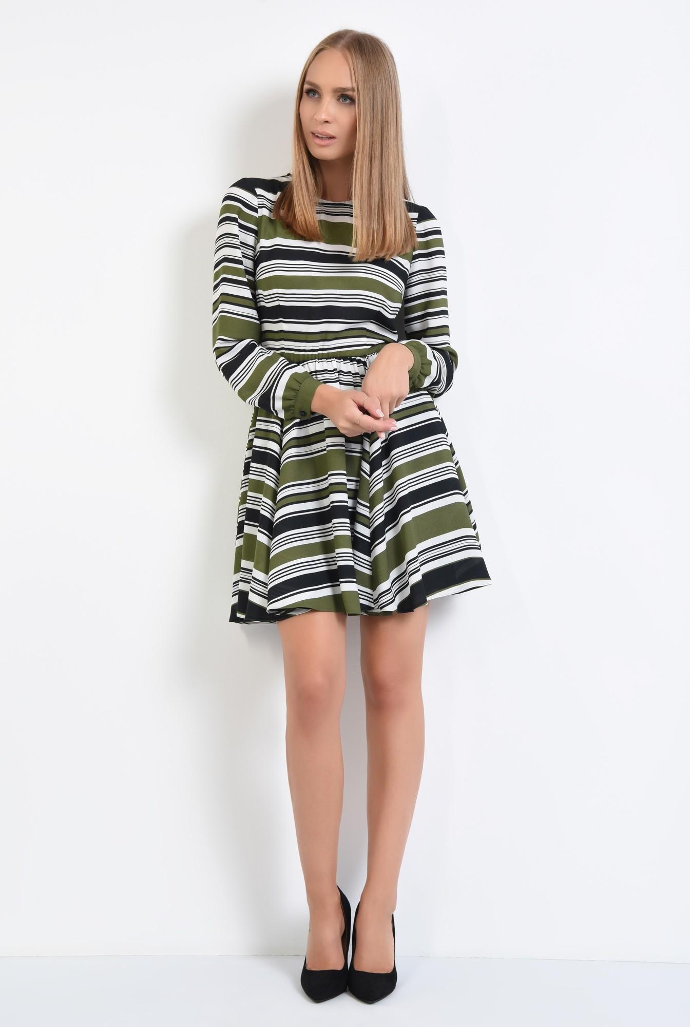 3 - rochie casual, talie pe elastic, decolteu rotund la baza gatului, rochii online
