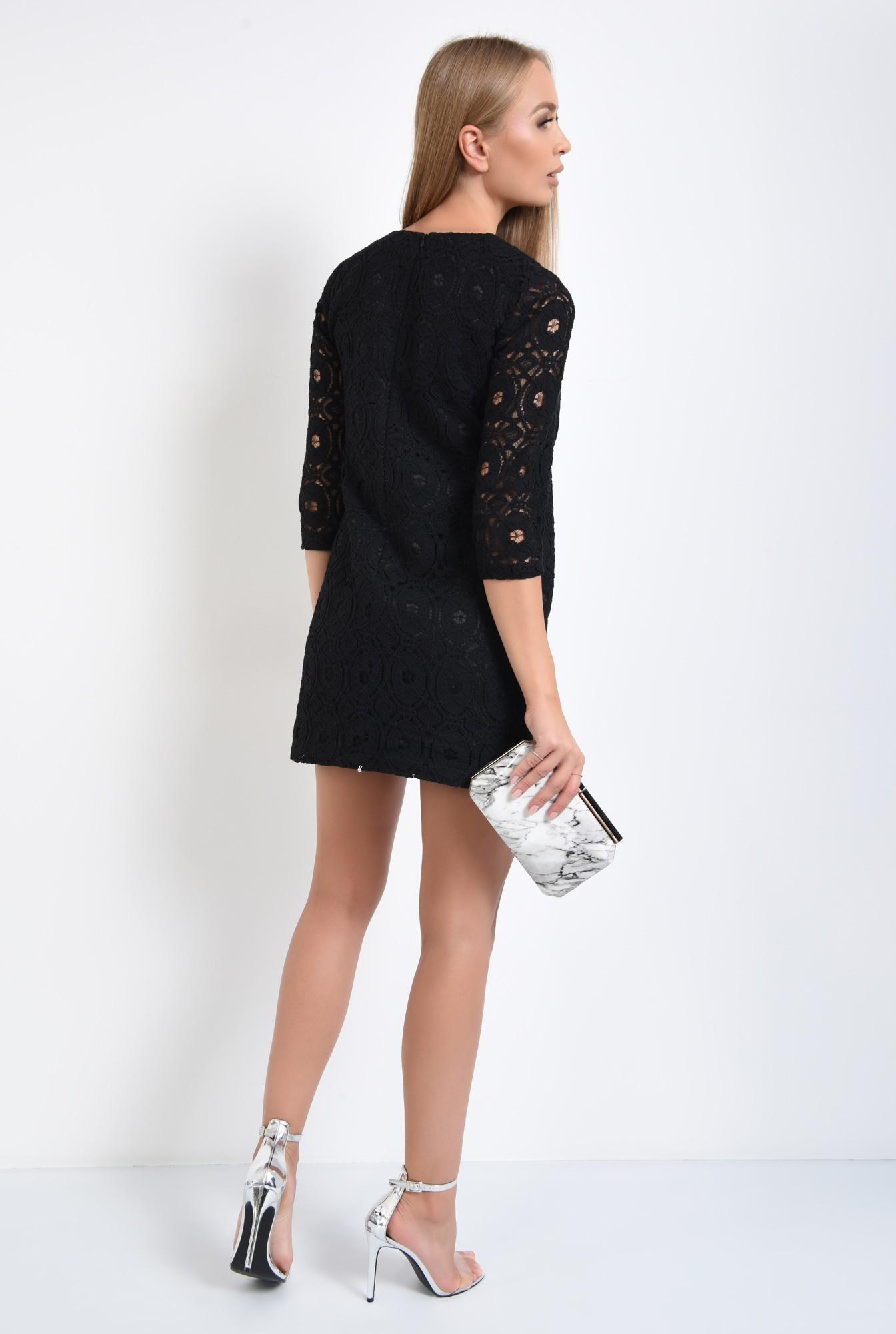1 - rochie de ocazie, mini, dreapta, dantela din bumbac