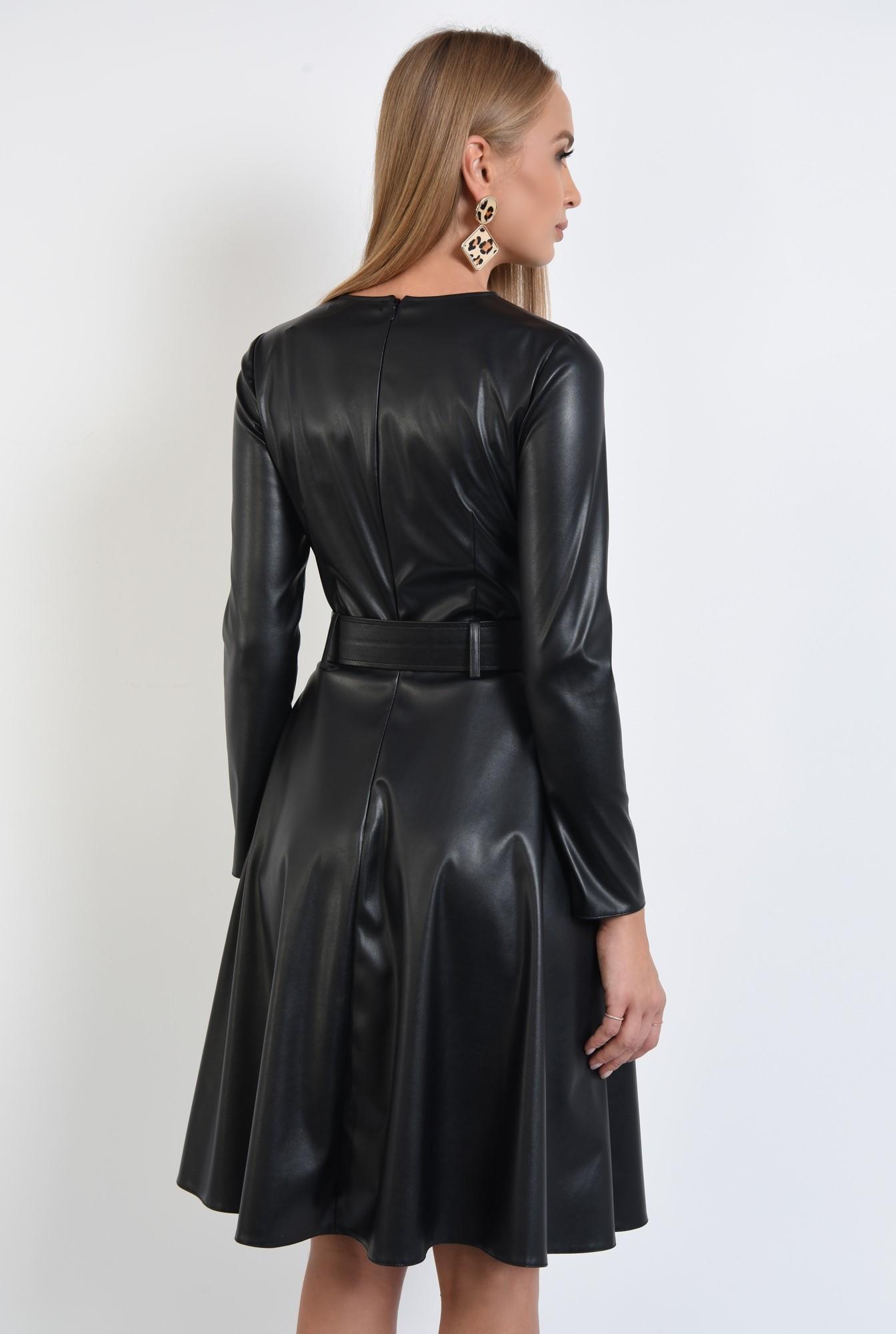 1 - rochie casual neagra, cusatura mediana, fermoar la spate, rochii online