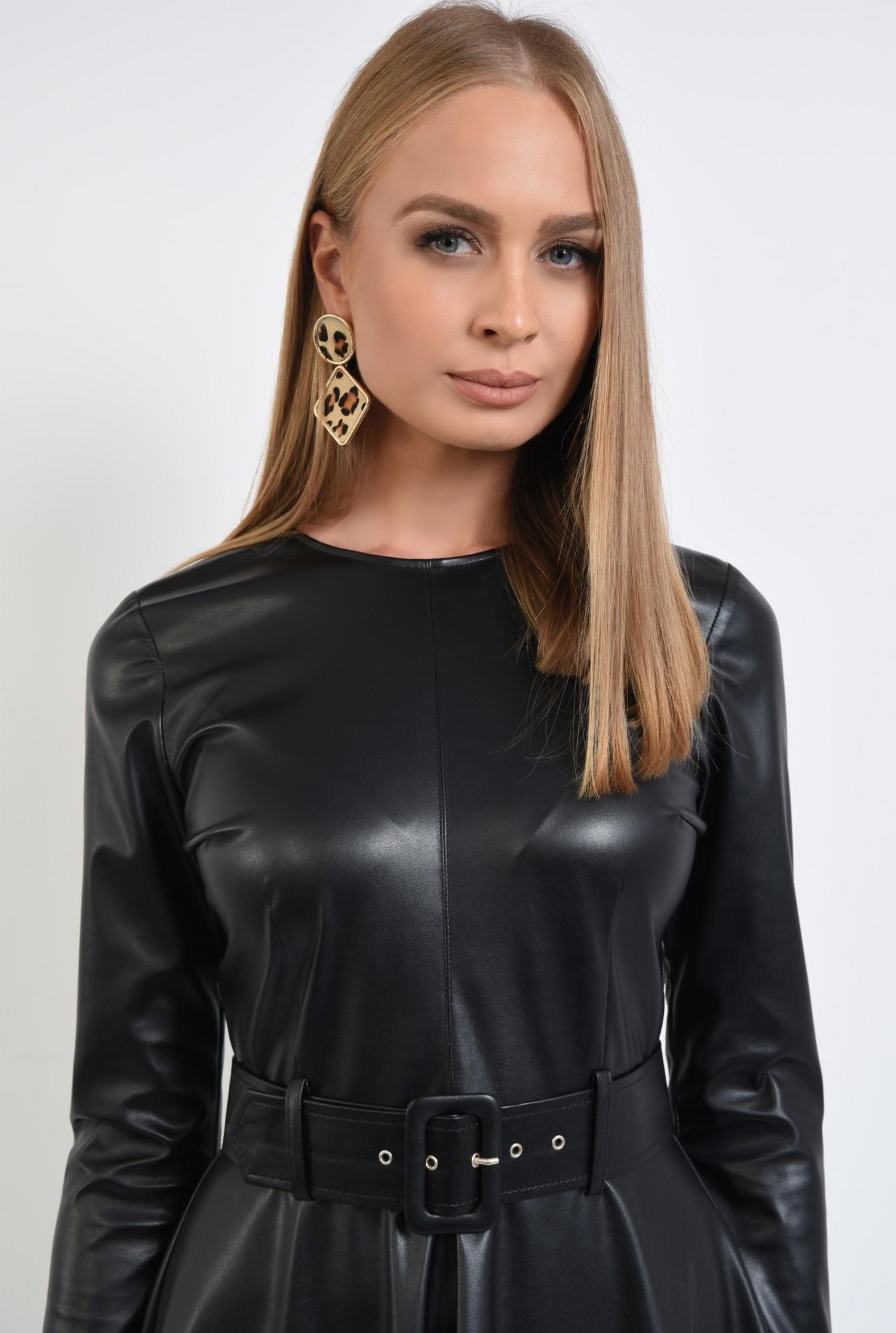 2 - rochie casual neagra, cusatura mediana, fermoar la spate, rochii online