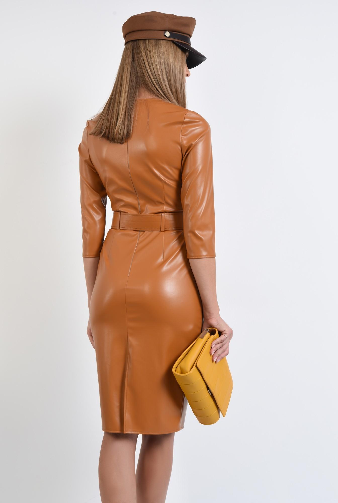 1 - rochie casual, conica, cu centura, camel, PU, piele eco