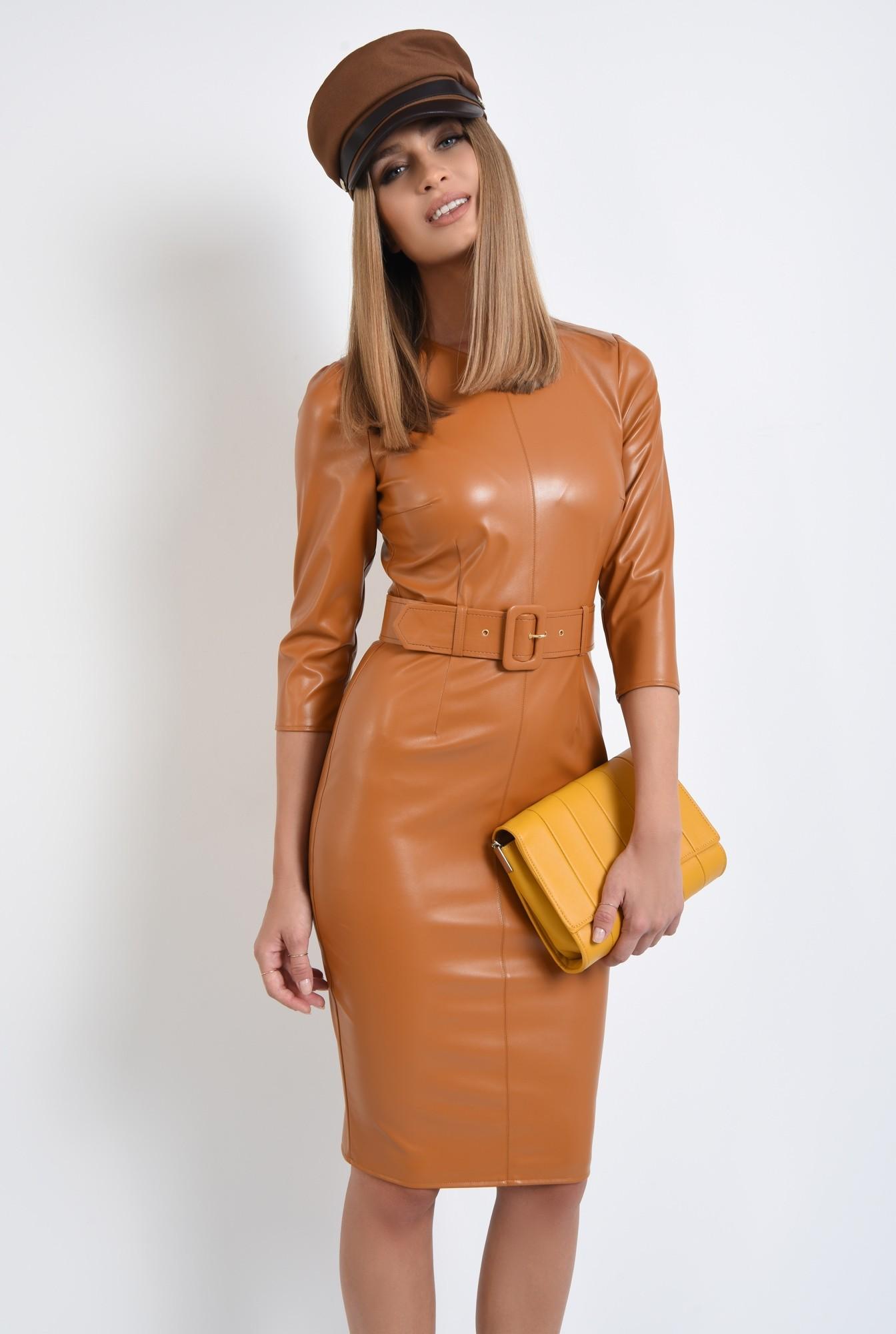2 - rochie casual, conica, cu centura, camel, PU, piele eco